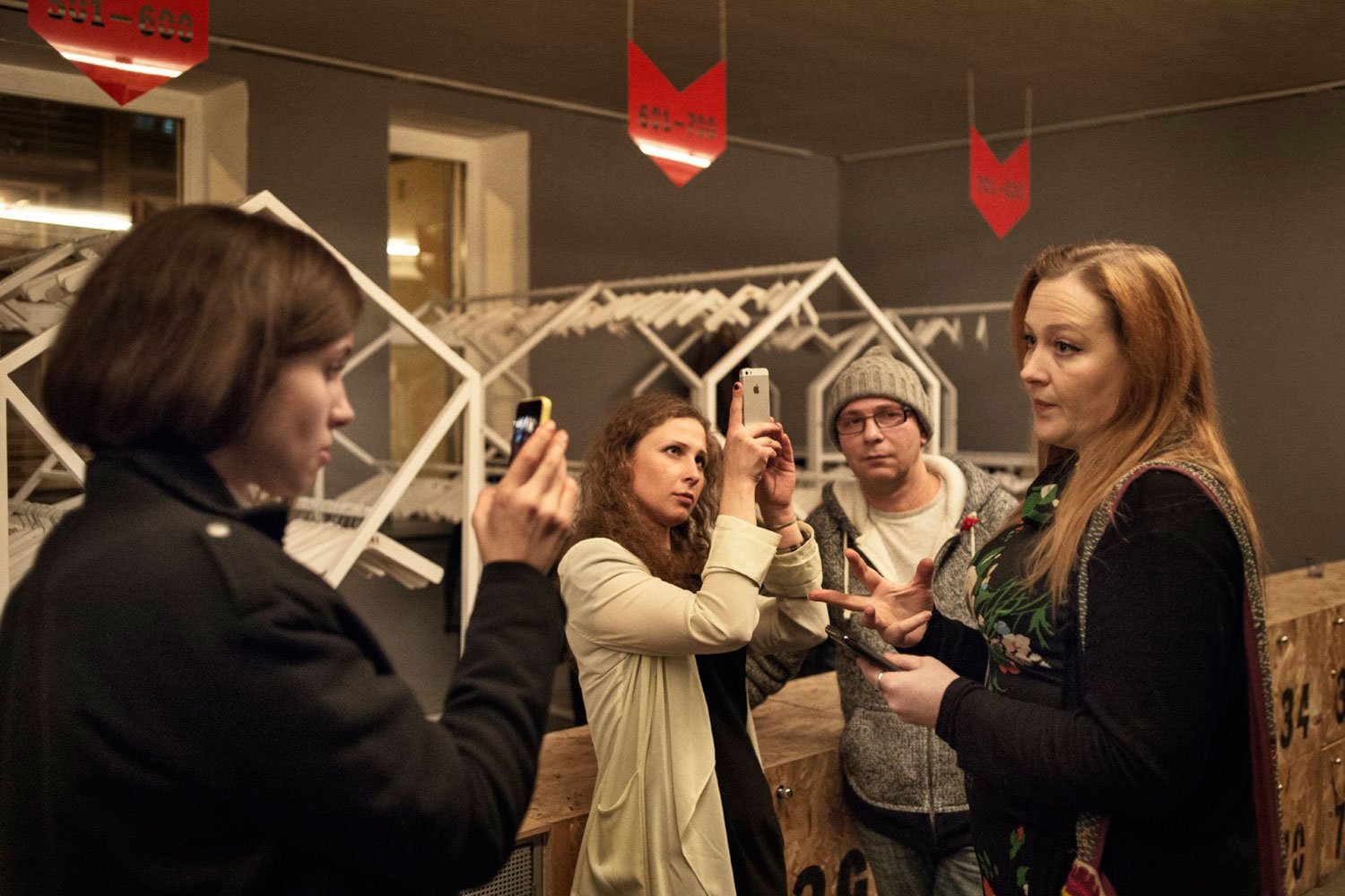 Maria Alyokhina and Nadezhda Tolokonnikova conduct an interview at the Gogol Center, asking people's opinion about the new prison reform organization they are planning to establish.