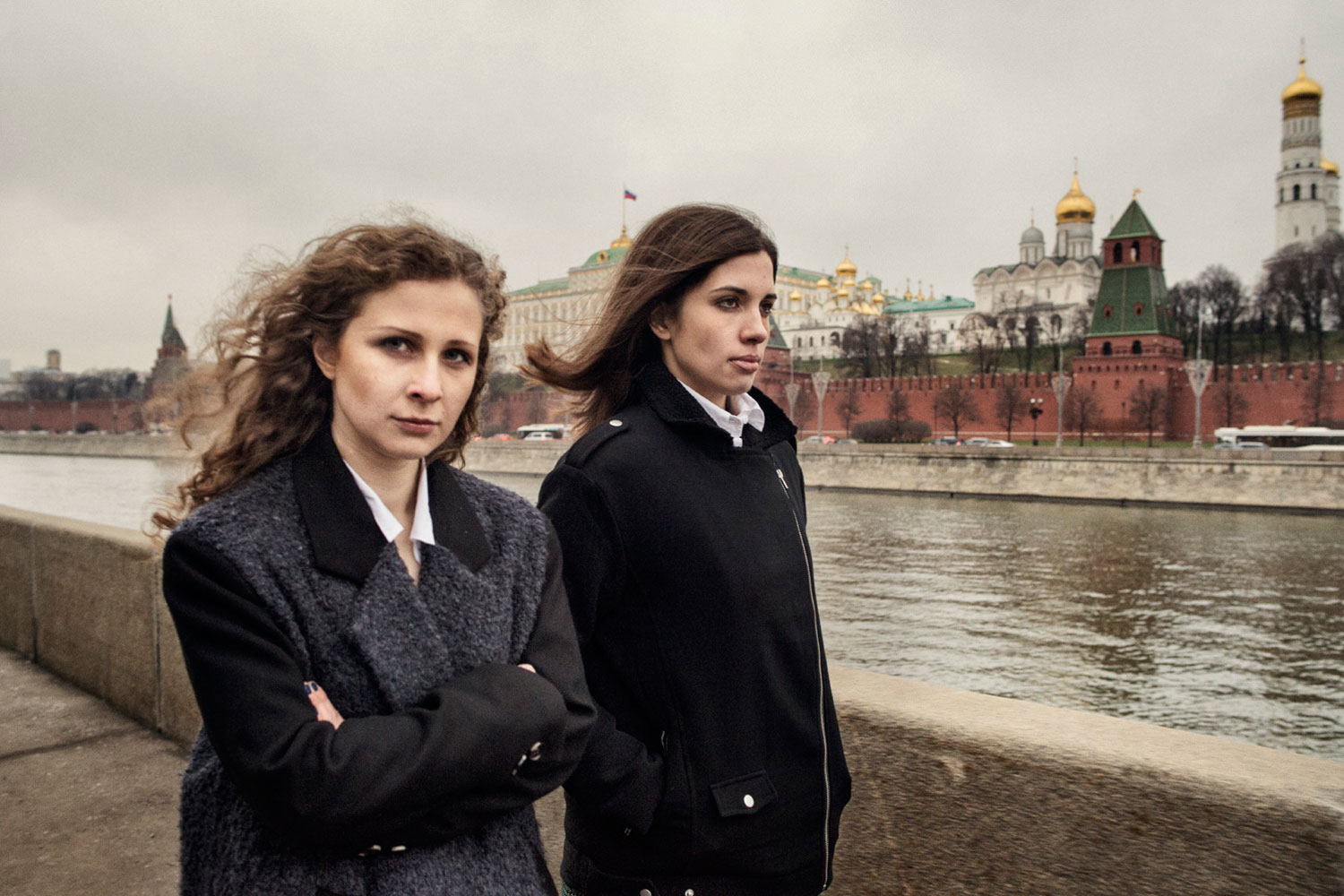 The following photographs were taken in Moscow, Dec. 27, 2013 - Jan. 1, 2014.                               Pussy Riot members  Nadezhda Tolokonnikova, 24, and Maria Alyokhina, 25, walk in downtown Moscow after serving more than 21 months of a two-year prison term for performing a profanity-laced  punk prayer  protest against President Vladimir Putin in Moscow's main Russian Orthodox cathedral.