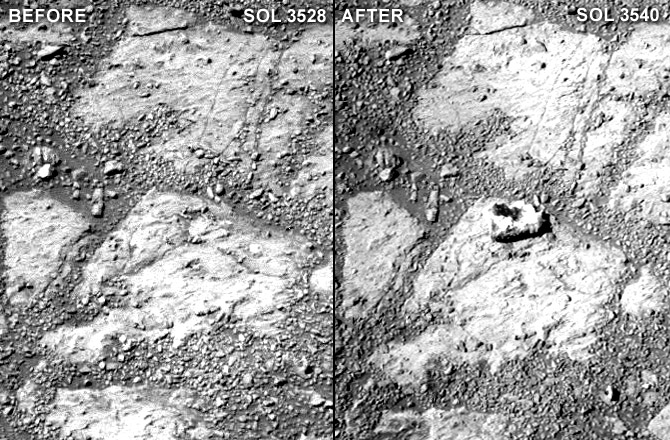 A comparison of two raw Pancam photographs from sols 3528 and 3540 of Opportunity's mission (a sol is a Martian day). Notice the  jelly doughnut -sized rock in the center of the photograph to the right. Minor adjustments for brightness and contrast.