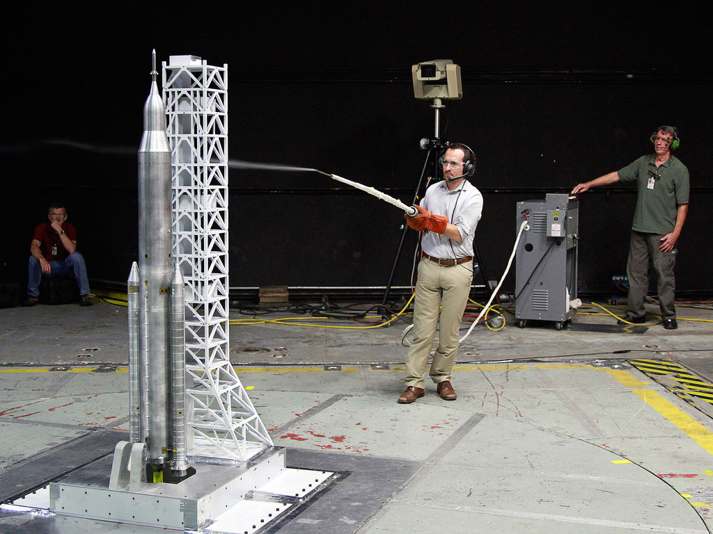 NASA engineers and contractors testing of a 67.5-in. (171 cm) model of the SLS in a subsonic wind tunnel at NASA's Langley Research Center in Hampton, Va.