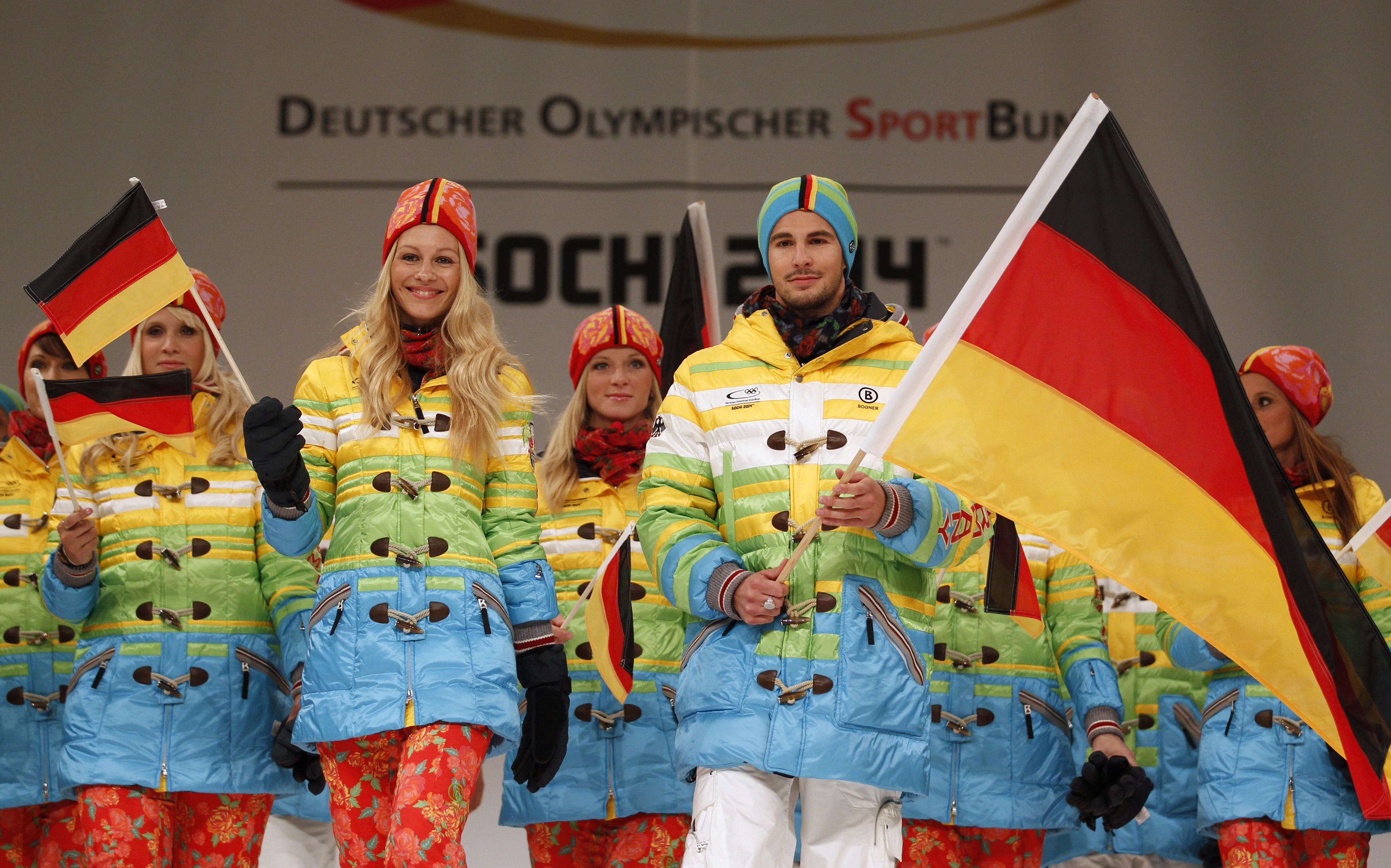German athletes are sure to stand out with these multi-colored duffle coats.
