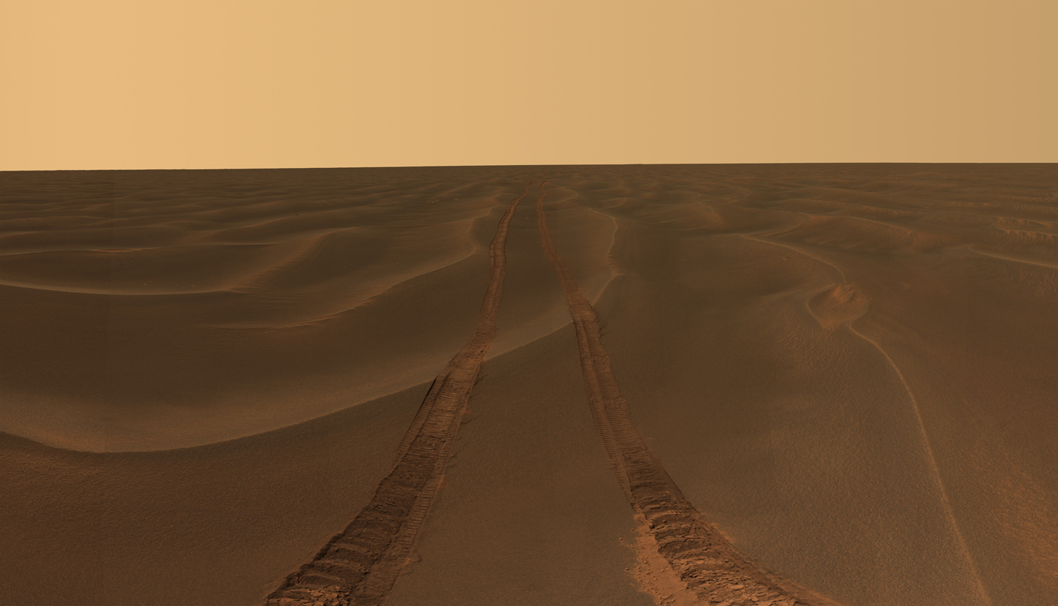 Rover tracks disappear toward the horizon like the wake of a ship across the desolate sea of sand between the craters Endurance and Victoria on the Meridiani Plains.