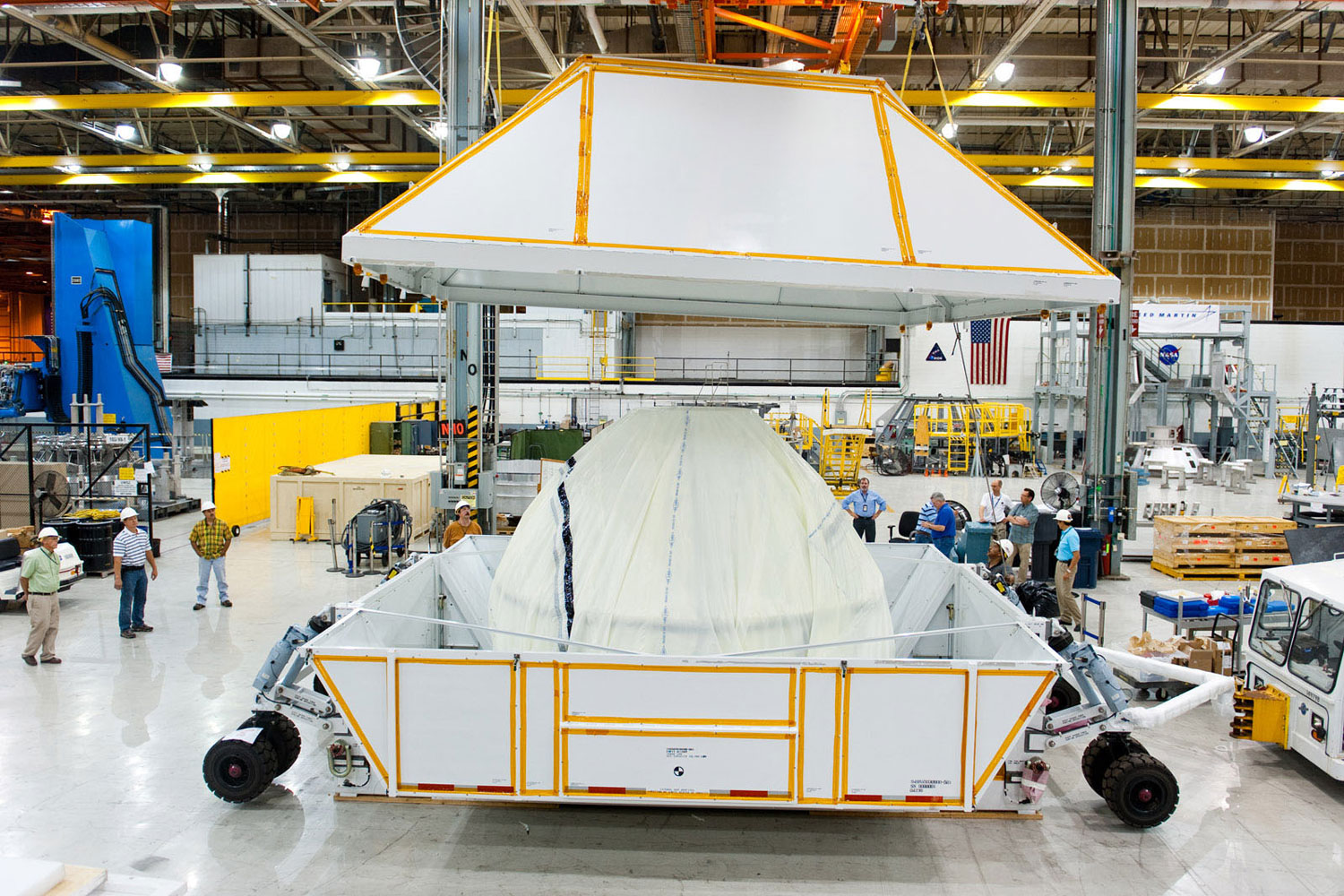 At NASA's Michoud Assembly Facility in Louisiana, the first space-bound Orion capsule is packed up for shipment to the Kennedy Space Center for final processing and outfitting.
