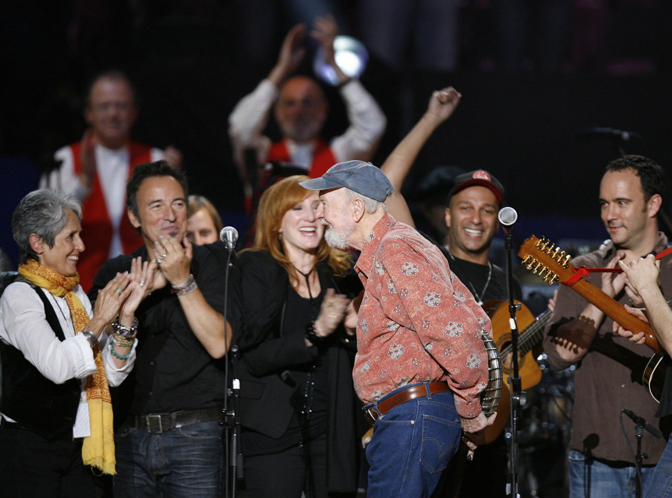 Pete Seeger (center) with Joan Baez, Bruce Springsteen, Patti Scialfa, Tom Morello and Dave Matthews during a concert celebrating Seeger's 90th birthday at Madison Square Garden in New York City, on May 3, 2009.