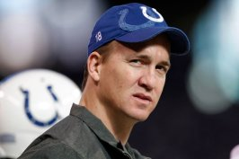 Indianapolis Colts quarterback Peyton Manning watches his team play on Sunday, December 18, 2011, in Indianapolis, Indiana.