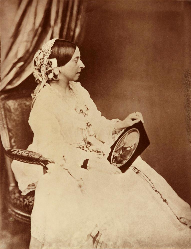 Portrait of Queen Victoria holding portrait of Prince Albert, July 1854