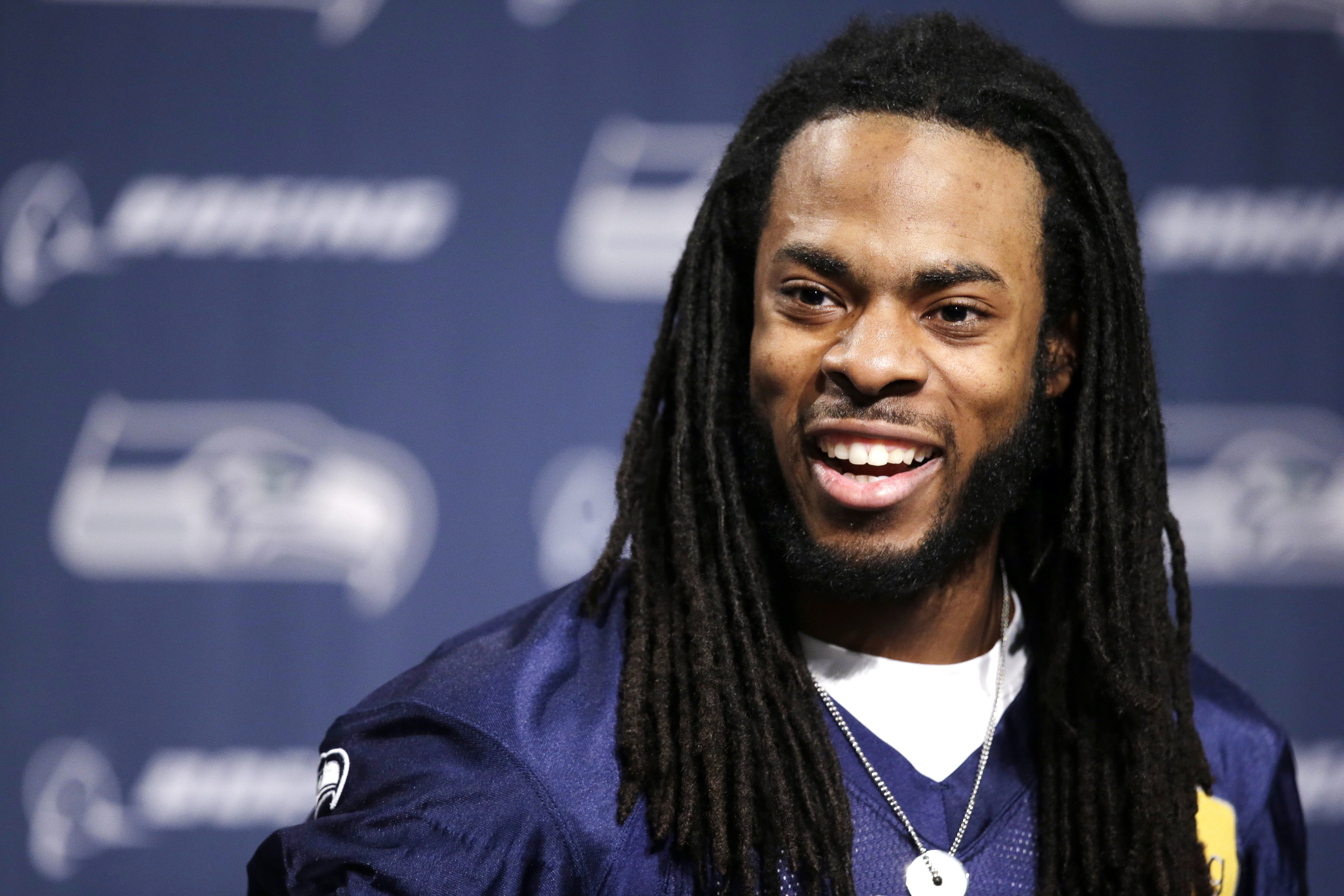 Seattle Seahawks' Richard Sherman speaks at an NFL football news conference on Jan. 22, 2014, in Renton, Wash.