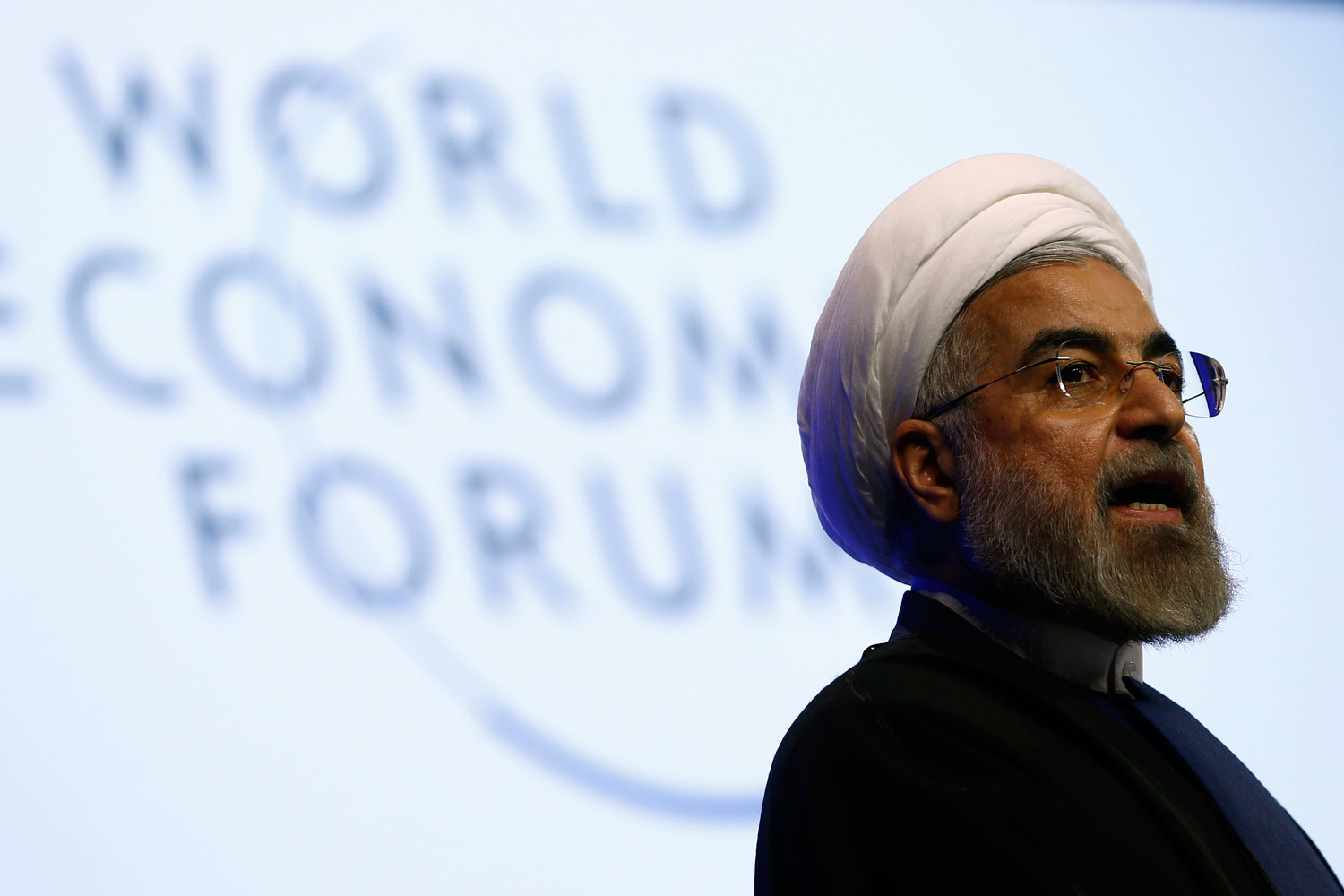 Iran's President Hassan Rouhani speaks during a session at the annual meeting of the World Economic Forum in Davos, Switzerland, on Jan. 23, 2014