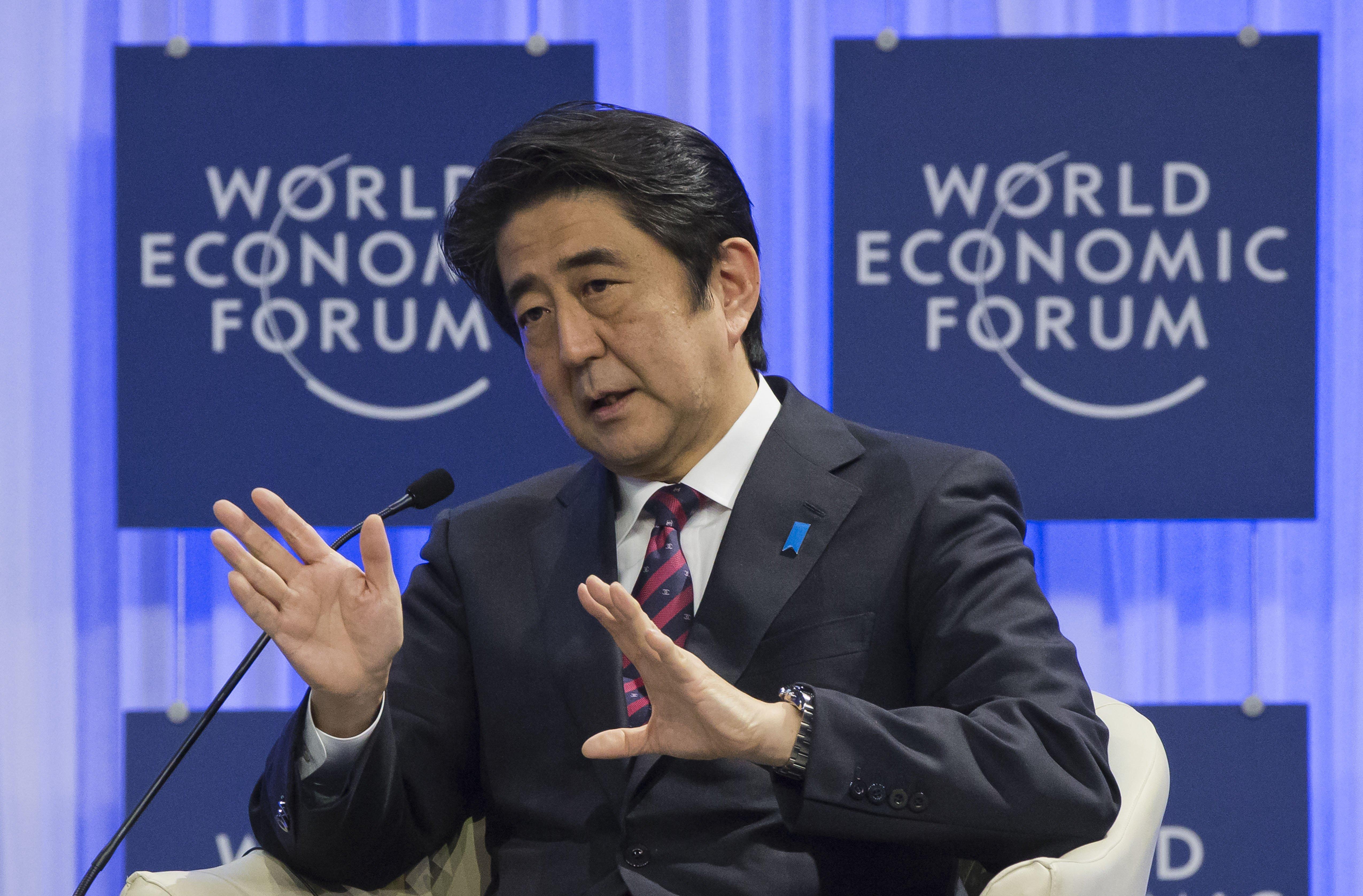 Japanese Prime Minister Shinzo Abe speaks at the World Economic Forum in Davos, Switzerland, on Jan. 22, 2014