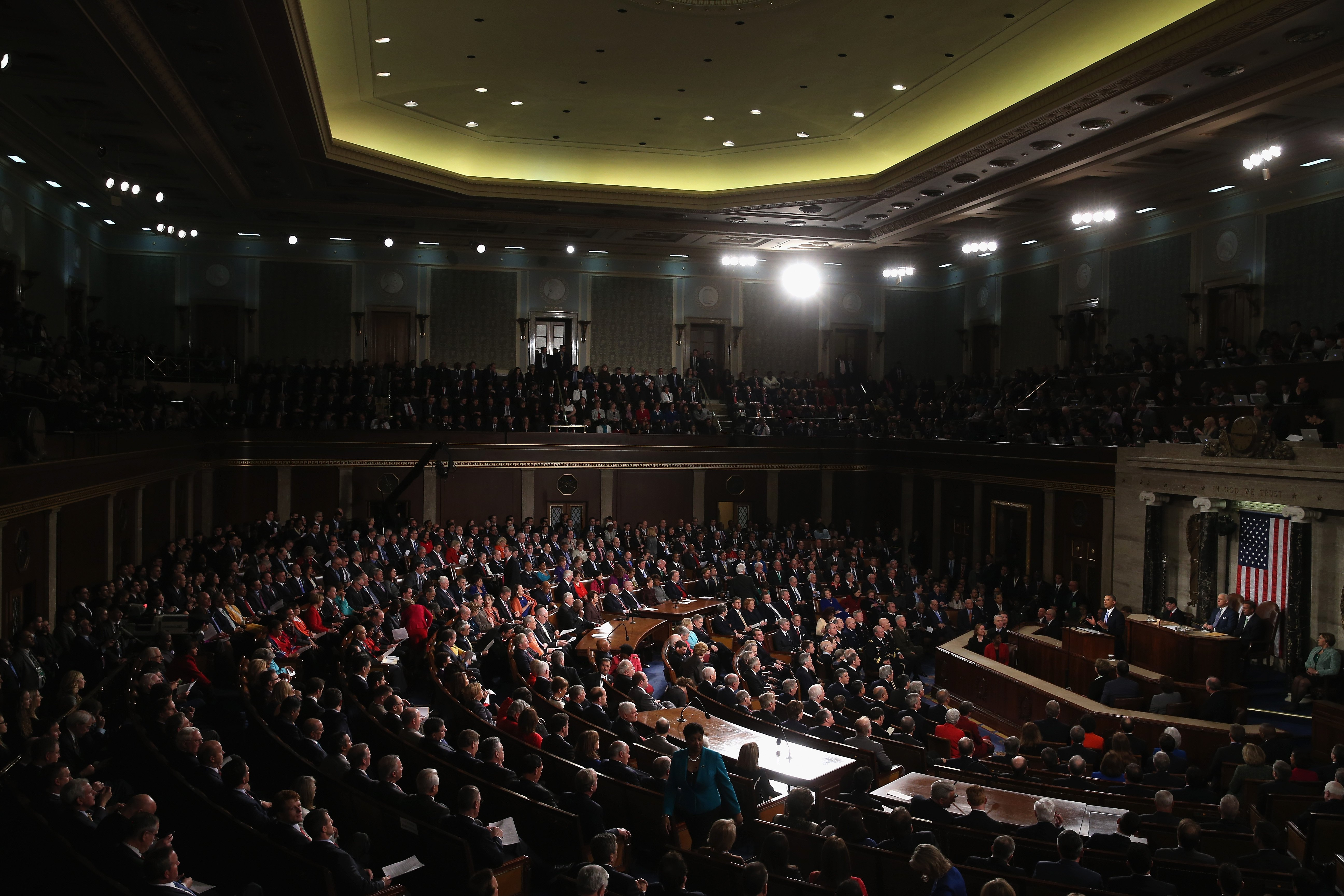 President Barack Obama delivers the State of the Union address to a joint session of Congress in the House Chamber at the U.S. Capitol on January 28, 2014 in Washington.