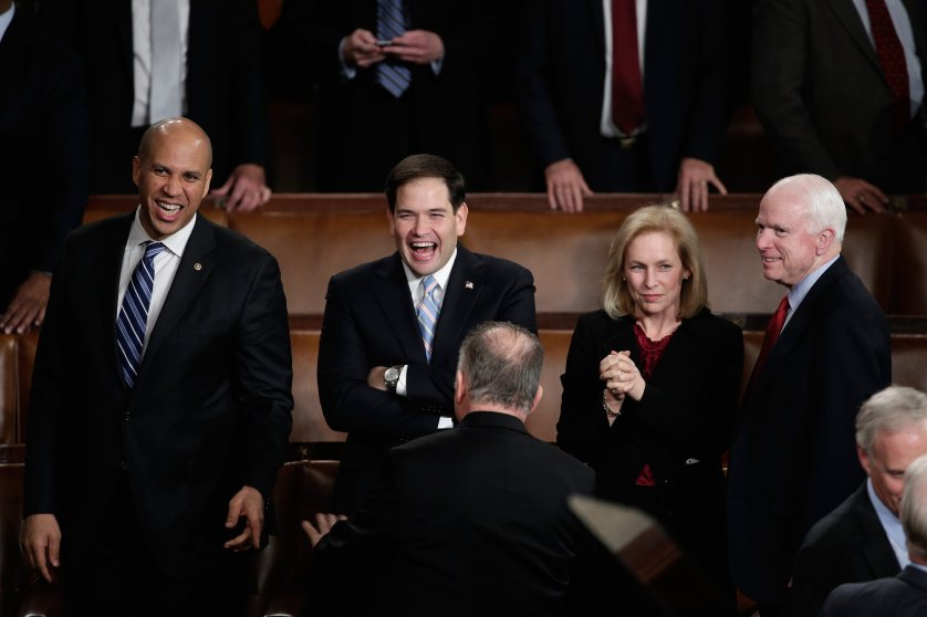 Senators Cory Booker, Marco Rubio, Kristen Gillibrand, John McCain mingle before the State of the Union.