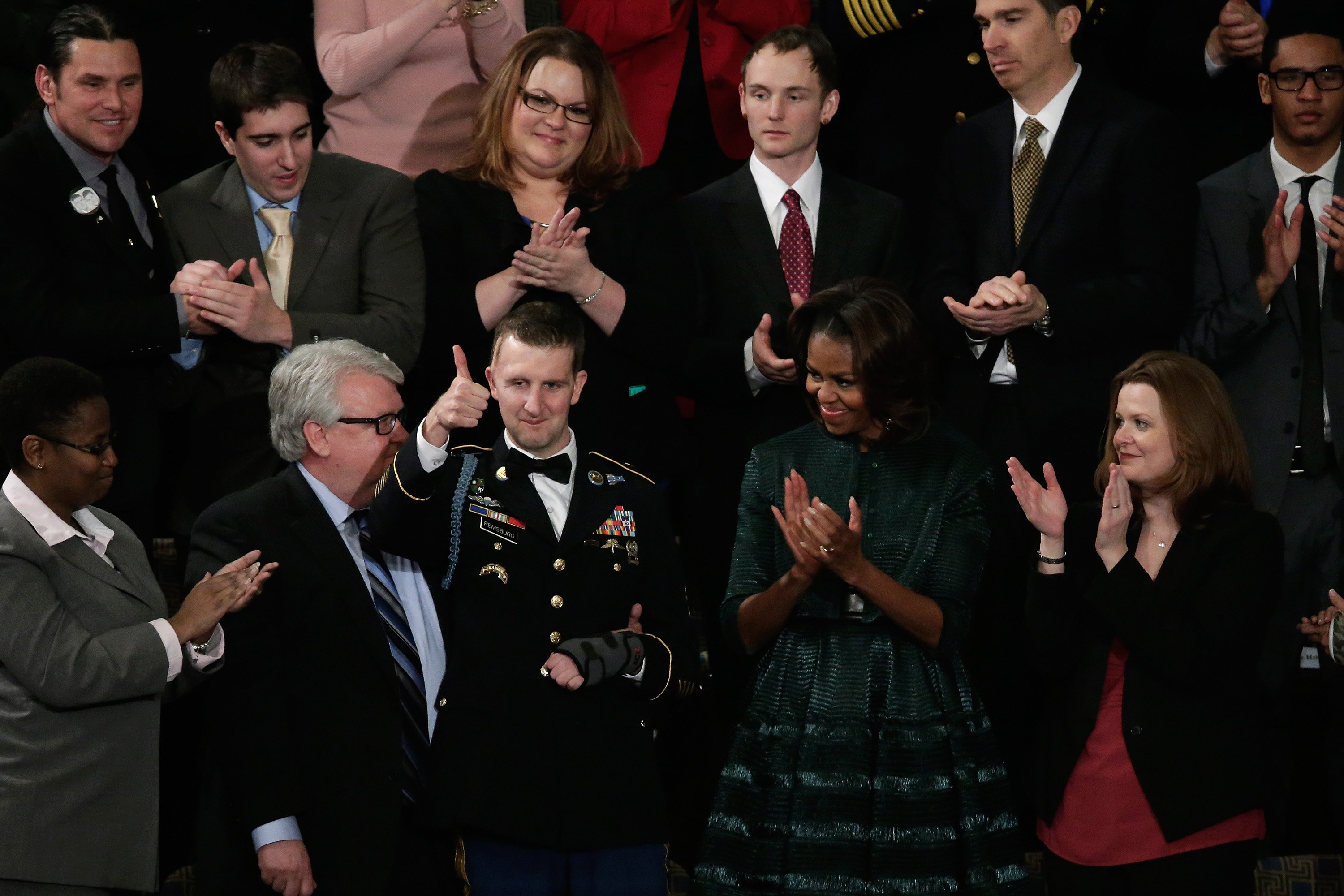 U.S. Army Ranger Sgt. First Class Cory Remsburg gives a thumbs up as he receives a standing ovation during the State of the Union.