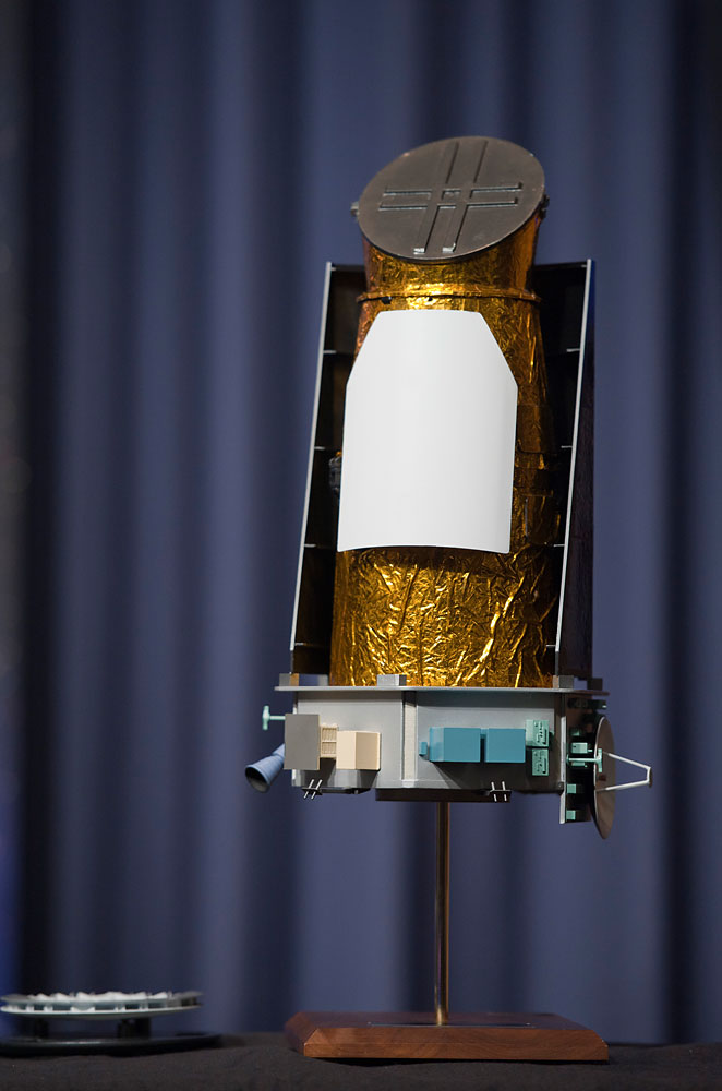 A scale model of the Kepler space telescope.