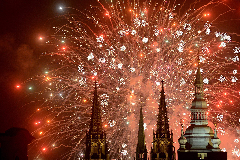 Jan. 1, 2014. Fireworks illuminate the sky over Prague Castle in central Prague, Czech Republic.