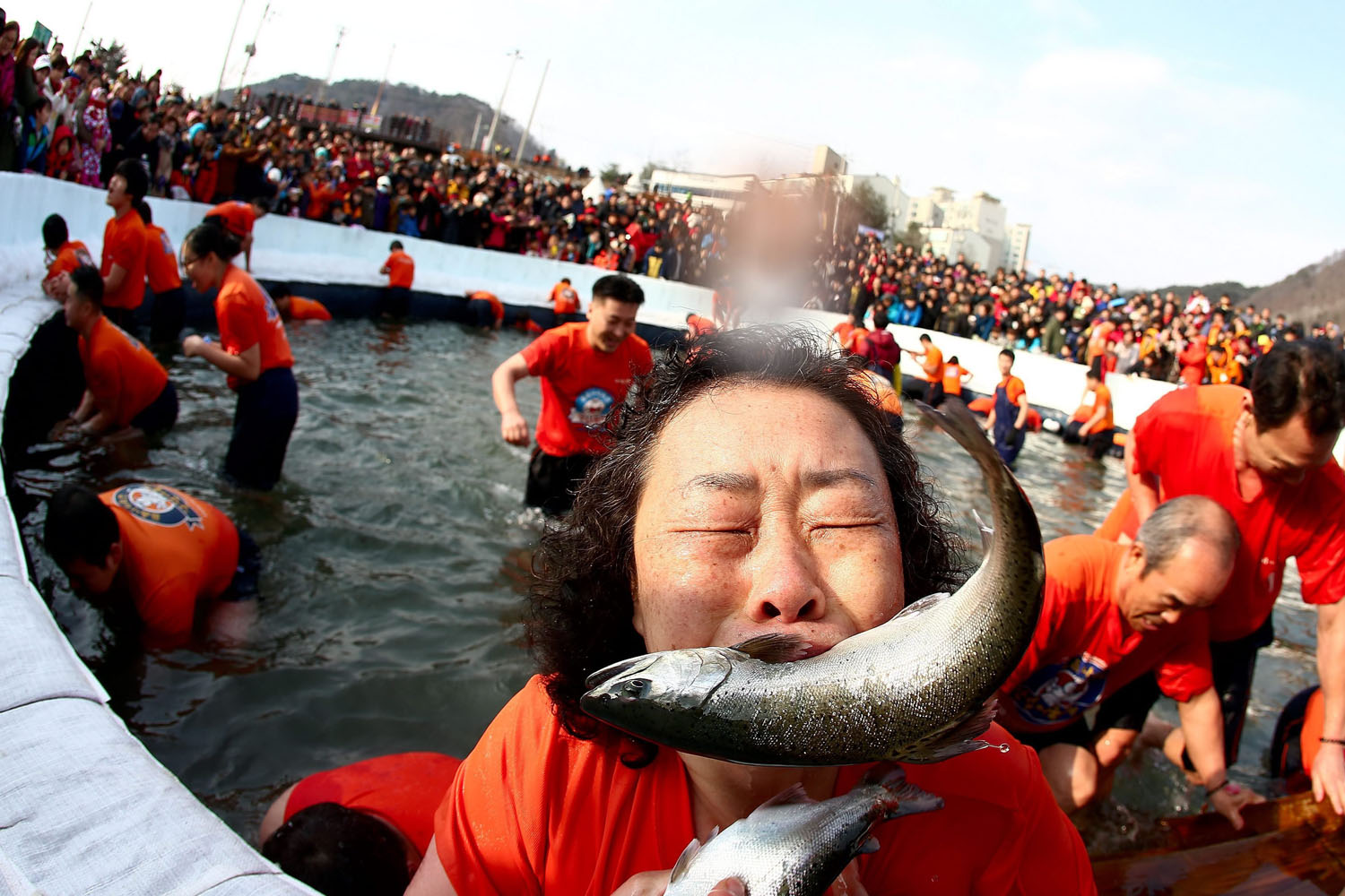 Jan. 5, 2014. Visitors are seen fishing at a frozen river during the Hwacheon Sancheoneo Ice Festival in Hwacheon-gun, Gangwon province, South Korea.