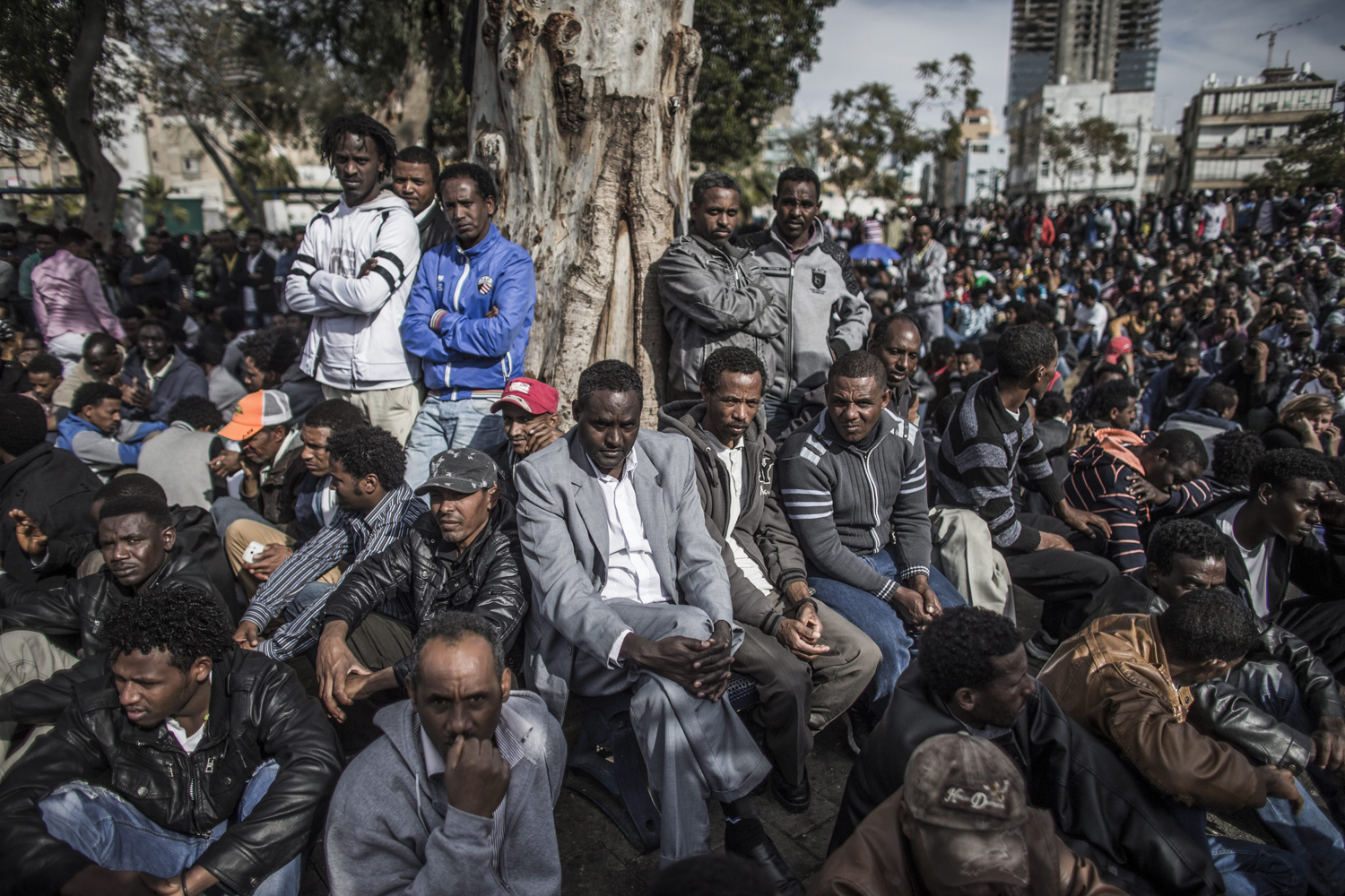 Jan. 7, 2014. African asylum seekers attend a protest rally in Levinsky park, southern Tel Aviv.