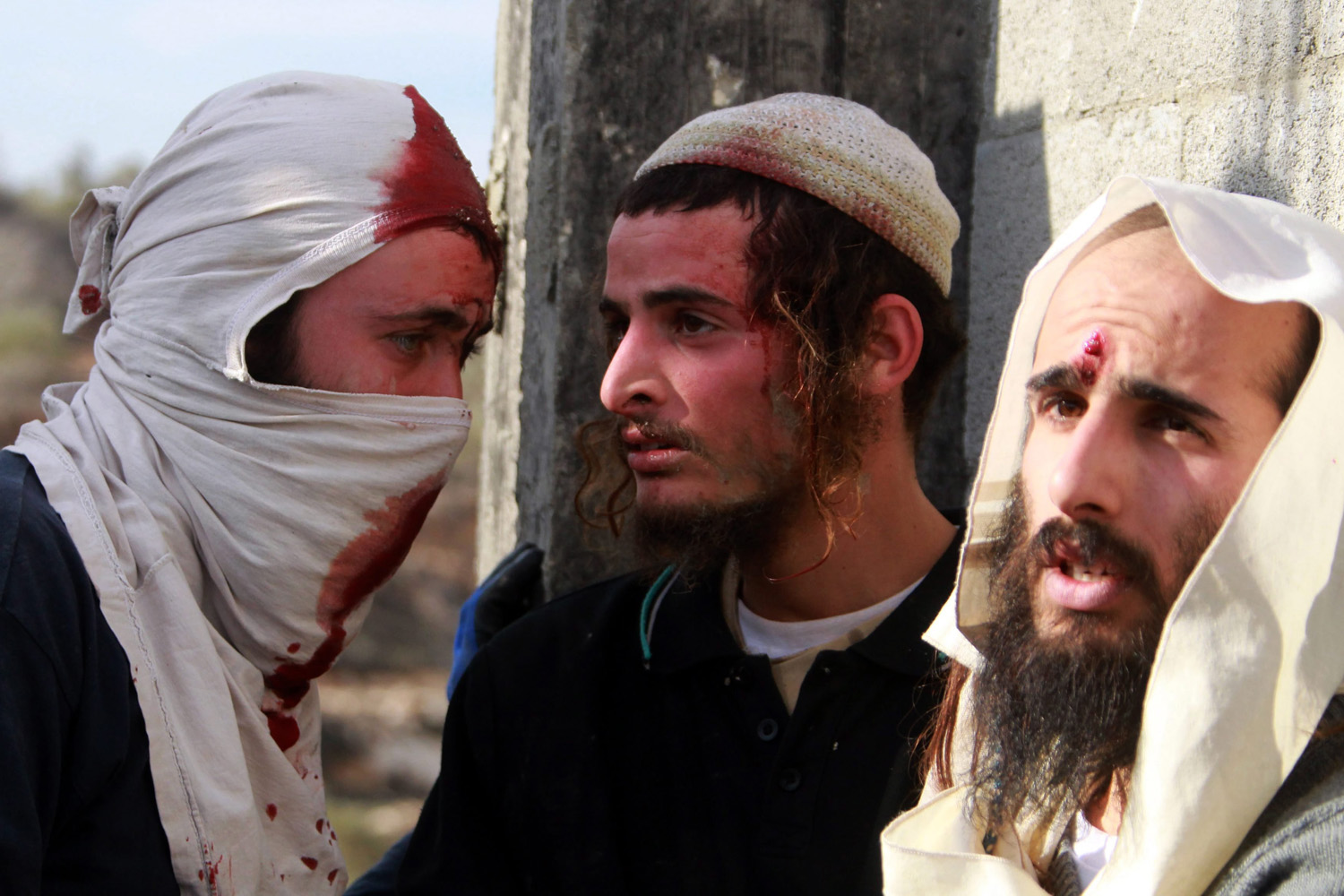 Jun. 7, 2014. Detained Israeli settlers are pictured  after confrontations with Palestinians in the village of Qusra, near the West Bank City of Nablus.