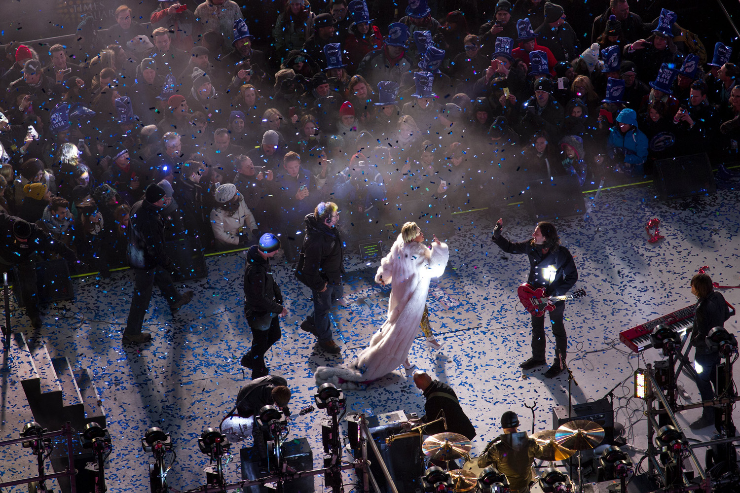 Dec. 31, 2013. Miley Cyrus leaves the stage after her performance in New York's Times Square during New Year's Eve celebrations.