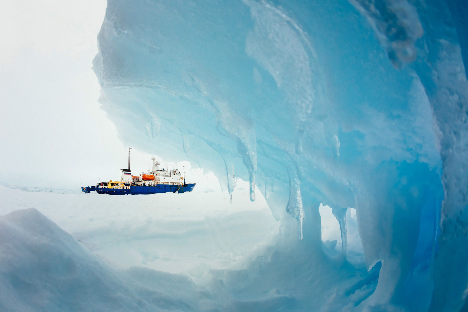 Dec. 29, 2013. The Russia ship, MV Akademik Shokalskiy, is pictured stranded in ice in Antarctica.