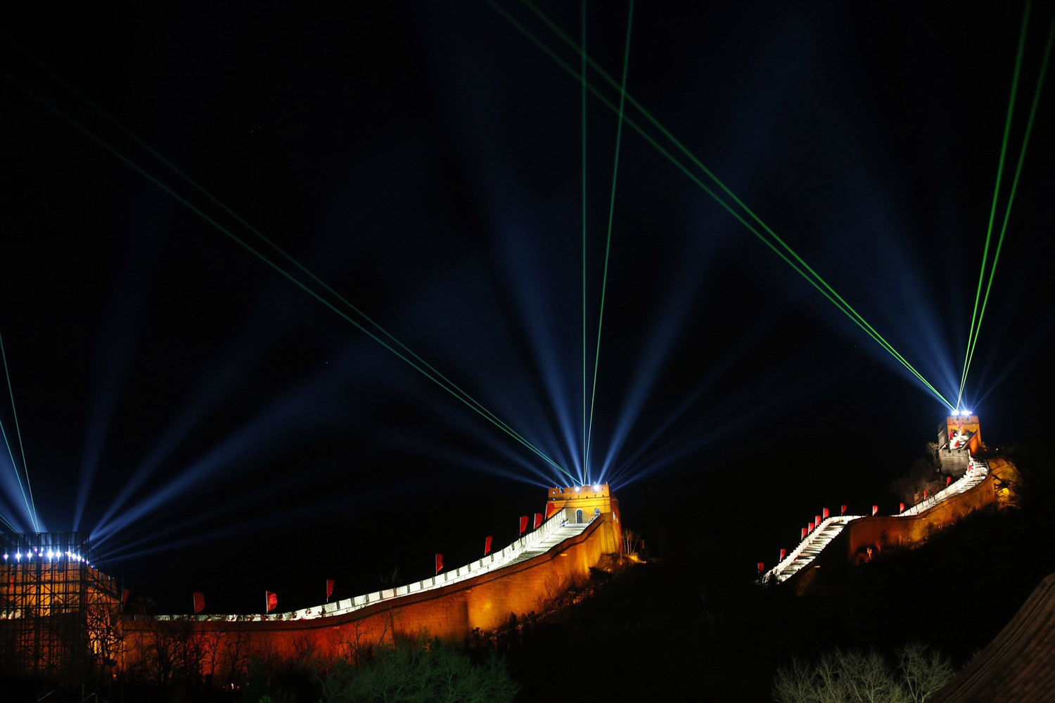 Dec. 31, 2013. Lights and lasers illuminate the Great Wall of China to celebrate the new year at the Badaling section of the Great Wall in Beijing, China.
