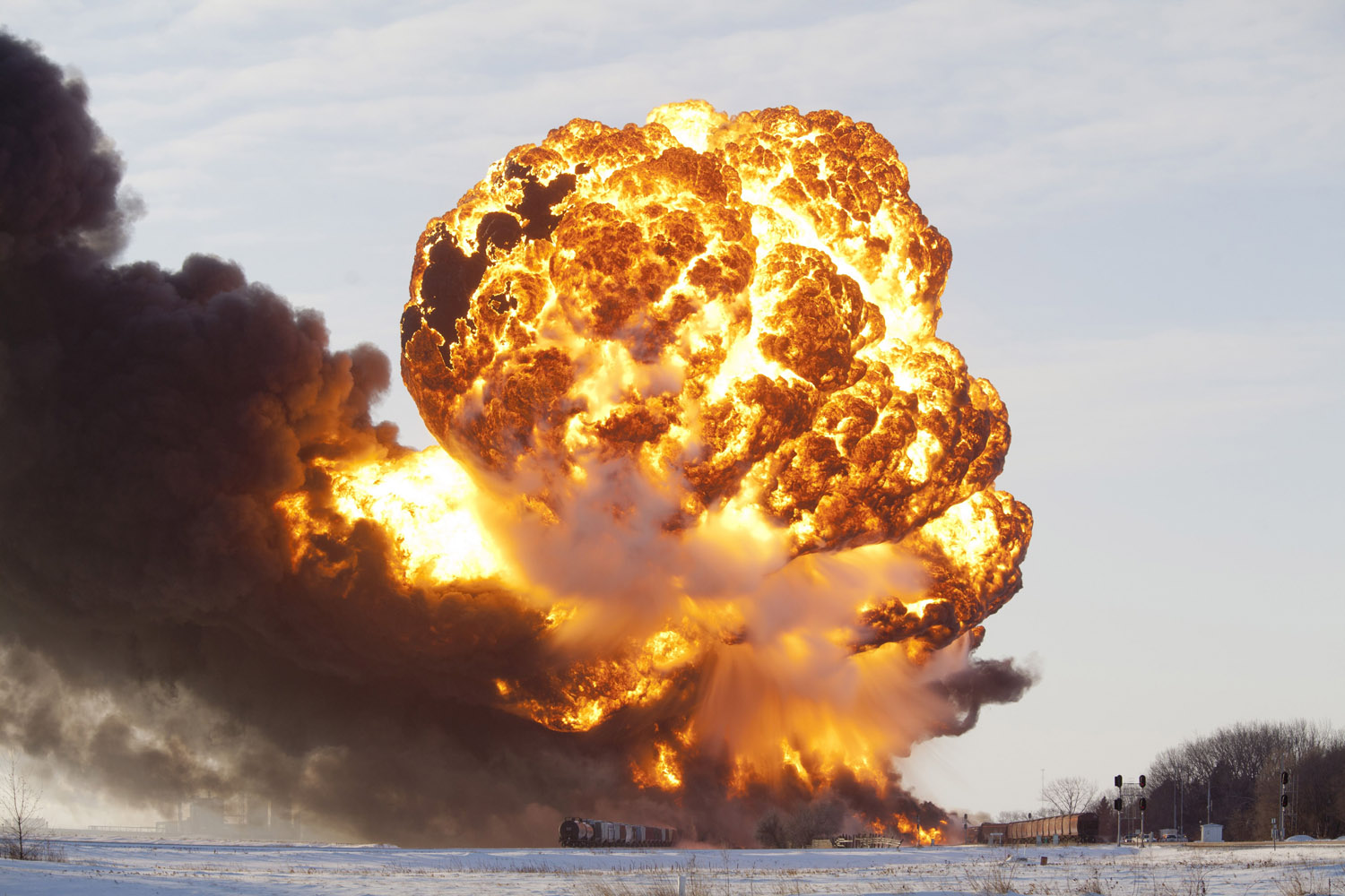 Dec. 30, 2013. A massive fireball from an exploding train car rises into the air just west of Casselton, North Dakota.