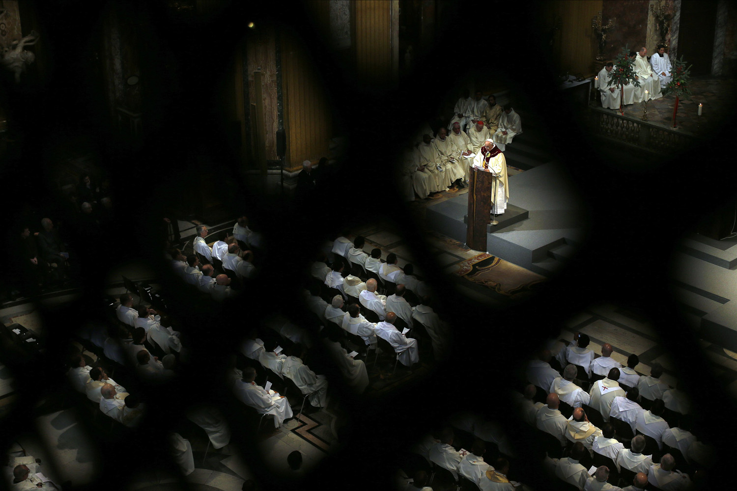 Jan. 3, 2013. Pope Francis conducts a mass at the Church of the Most Holy Name of Jesus in downtown Rome, Italy. January 3, 2014.