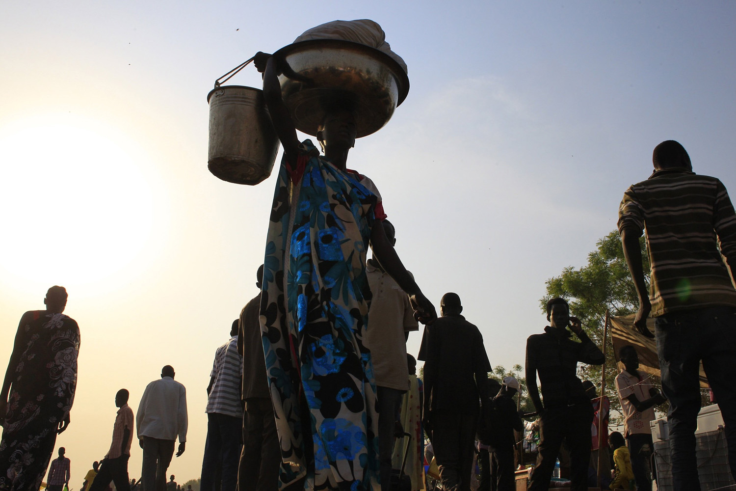 Jan. 7, 2014. Displaced people are seen at Tomping camp in Juba, where some 15,000 displaced people who fled their homes are sheltered by the United Nations.