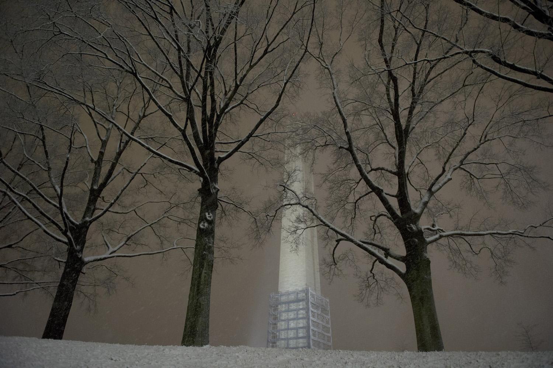 Jan. 2, 2013. The Washington Monument is seen as snow falls in Washington, D.C.