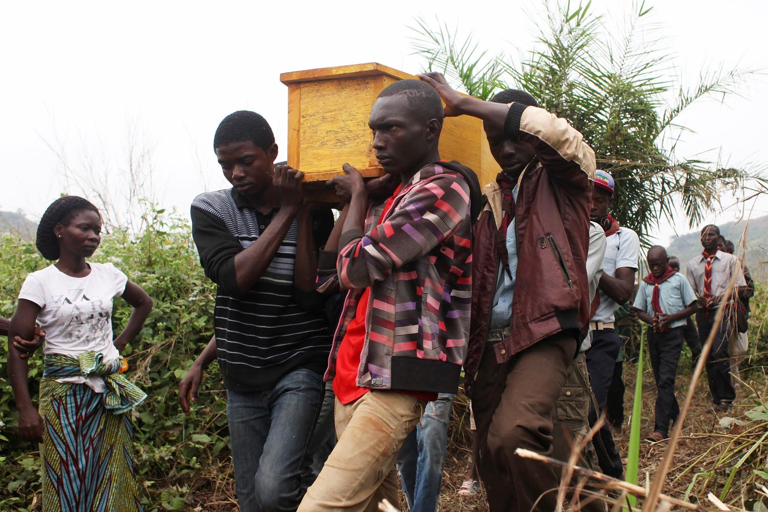 Dec. 27, 2013. Friends and relatives of Yanguere Richard, 21, carry his remains to the burial grounds in Bangui. Richard was killed in the inter-religious fighting in Bangui, Central African Republic.
