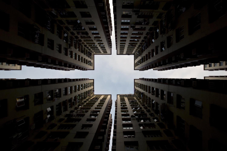 Jan. 2, 2014. Apartment blocks form a symmetrical pattern in Hong Kong.