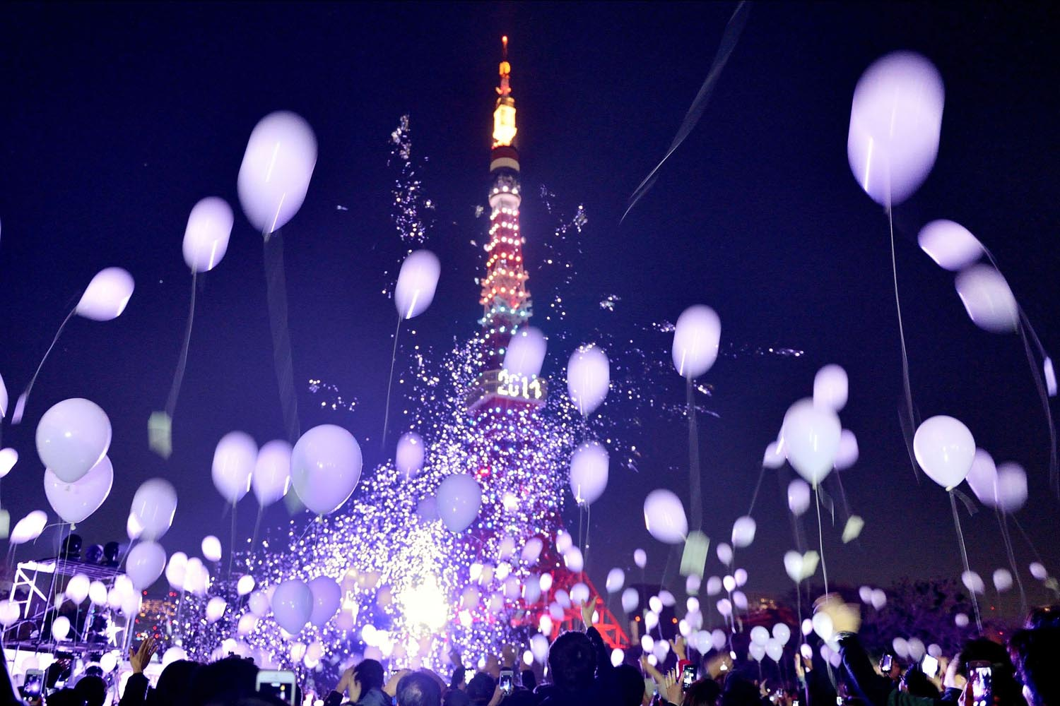 Jan. 1, 2014. People release balloons to celebrate the New Year during the annual countdown ceremony by the Prince Park Tower Tokyo.