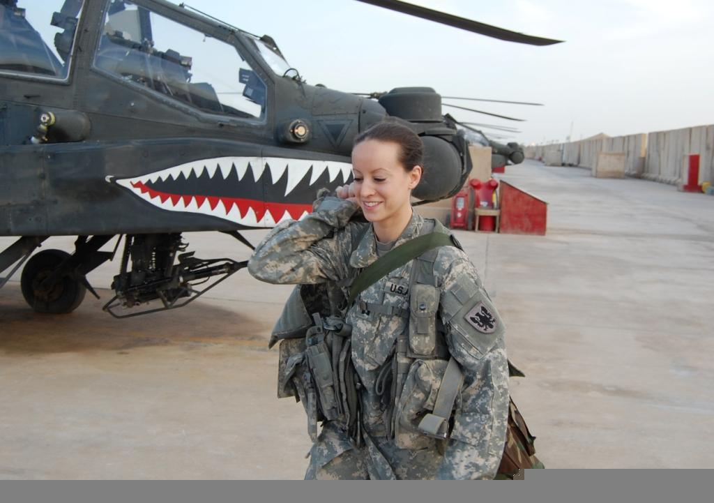 U.S. Army Captain Elizabeth McNamara, an AH-64 pilot, on the flight line in Iraq in 2011