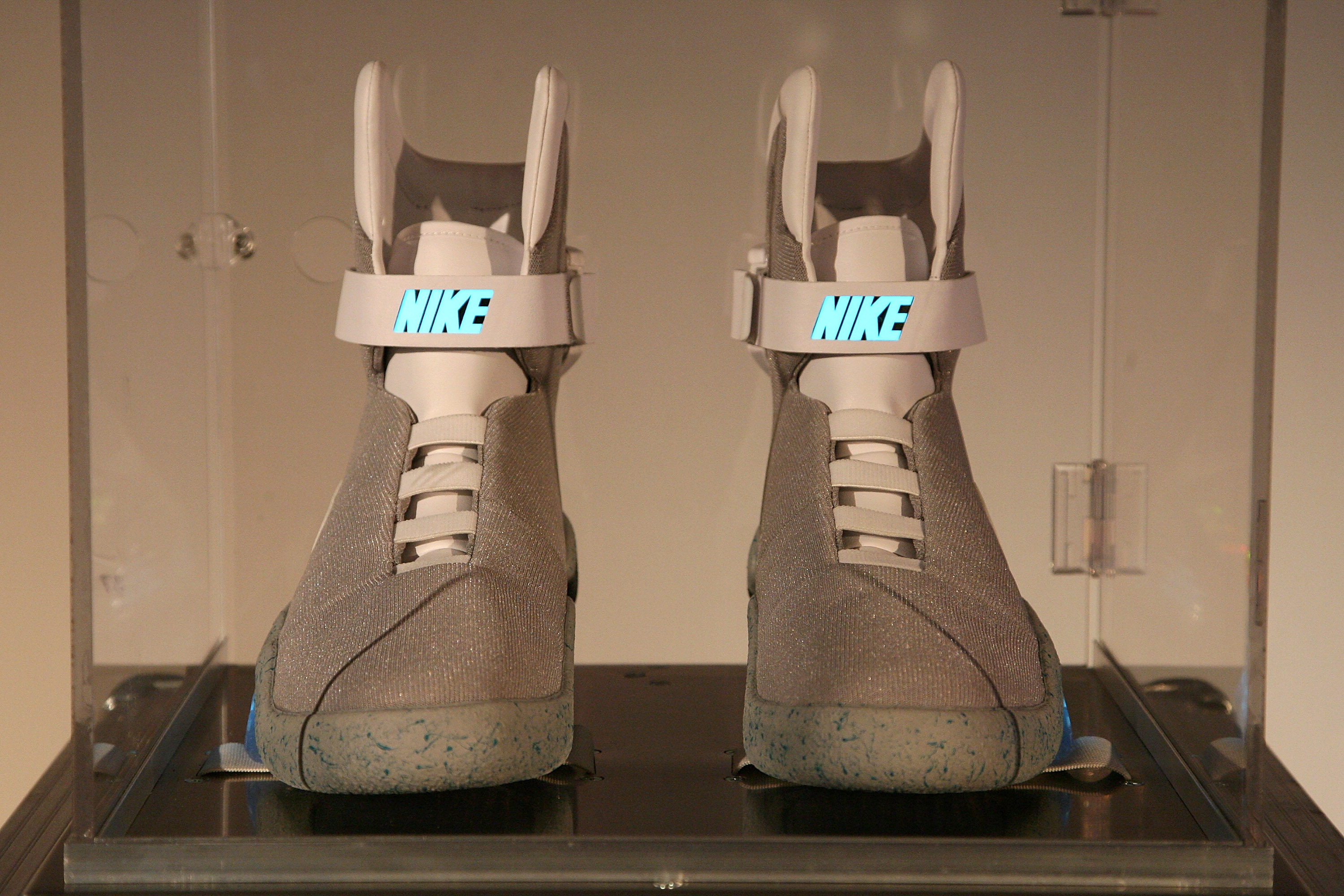 A pair of Nike limited edition sneakers are auctioned off at the Nike MAG Berlin auction at the Delight Studios on September 17, 2011 in Berlin, Germany.