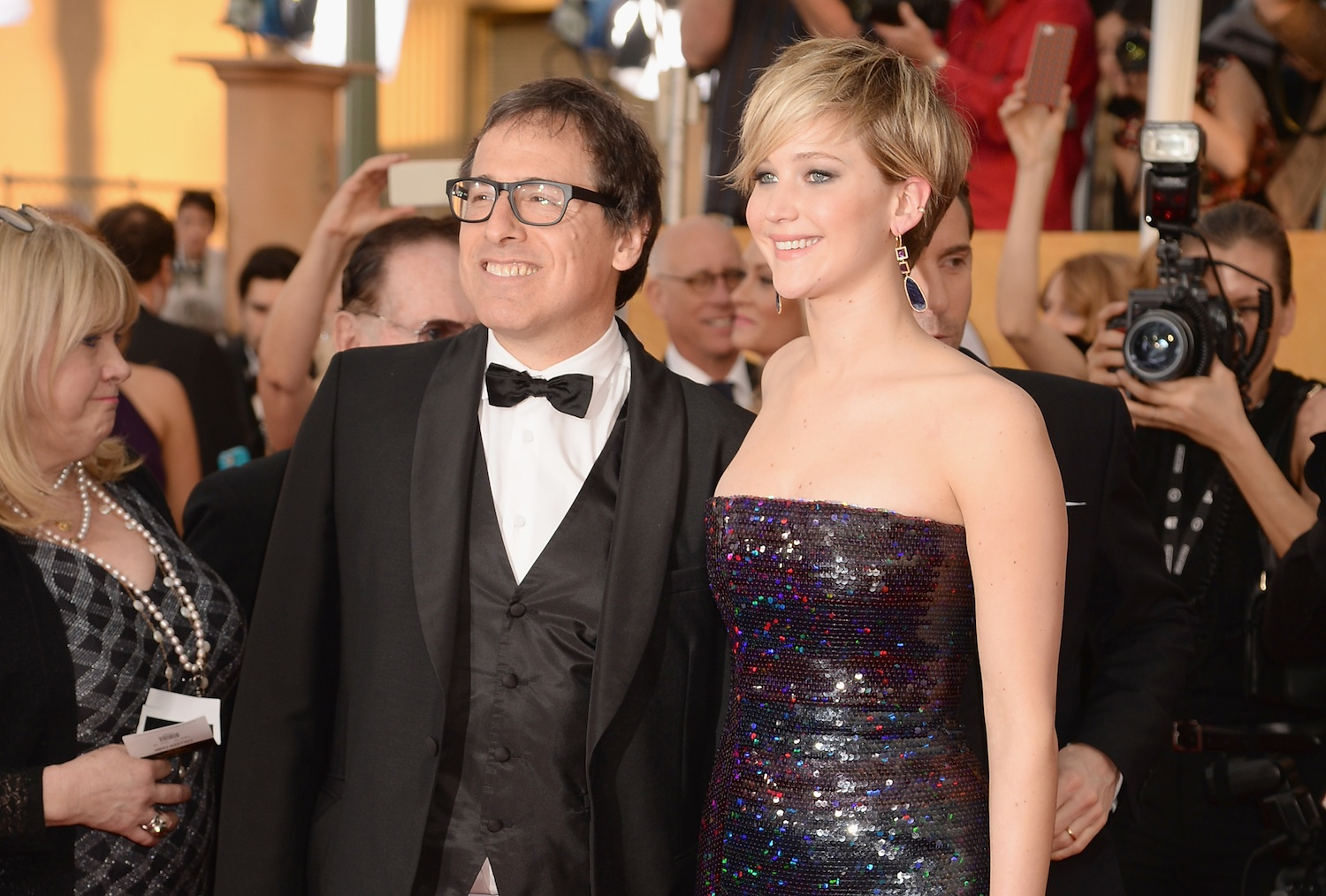 David O. Russell  and Jennifer Lawrence at the Screen Actors Guild Awards on Jan. 18, 2014, in Los Angeles