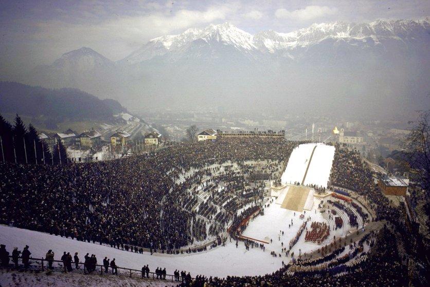 Opening ceremonies at the 1964 Innsbruck Winter Olympics.