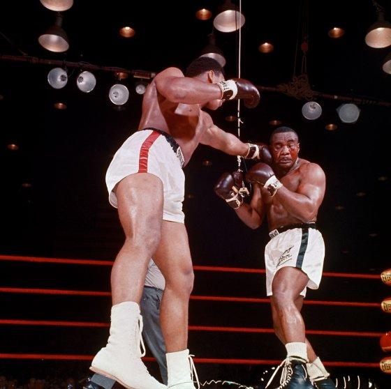 Action during the sixth round of the Clay-Liston bout, Feb. 25, 1964.