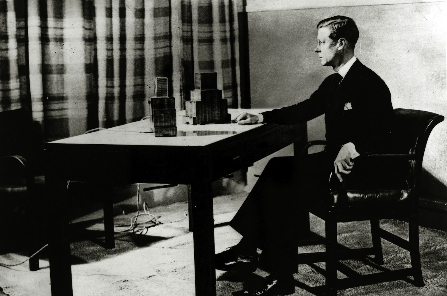 King Edward VIII in March 1936, at the microphone as he makes his Accession broadcast to the Empire