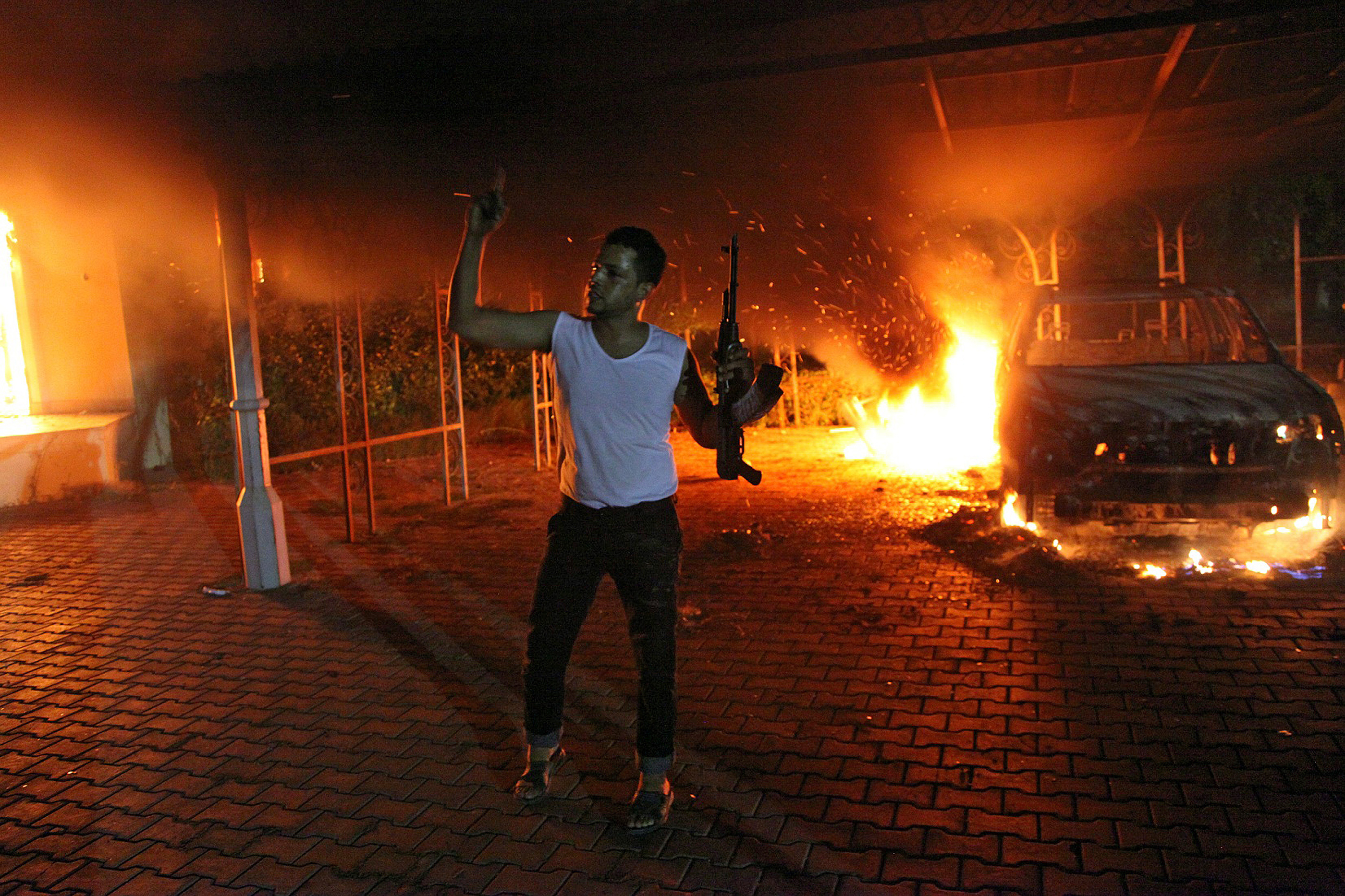 An armed man during the attack on the U.S. consulate in Benghazi on Sept. 11, 2012.