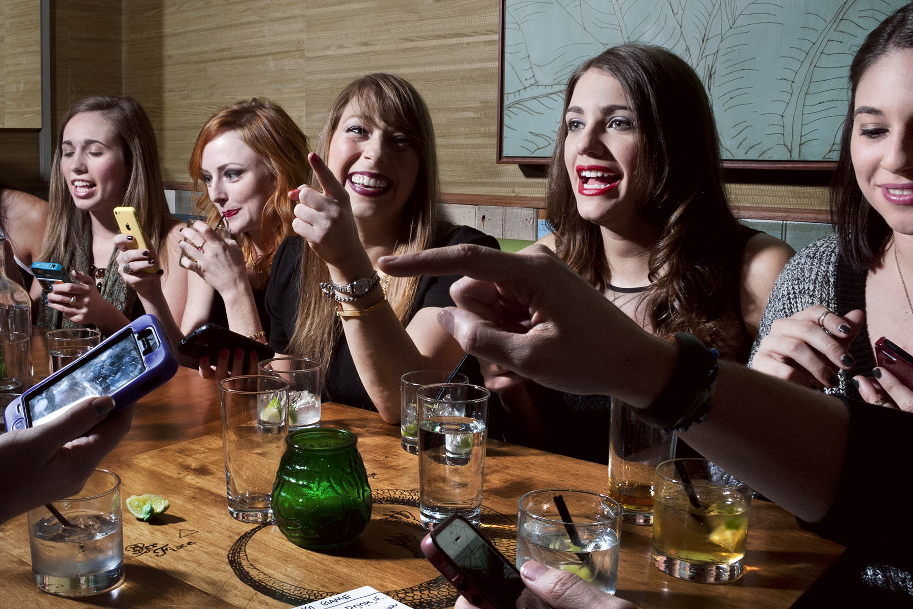 A group of girlfriends gathers at Baby's All Right, a Brooklyn bar, to play a Tinder drinking game.