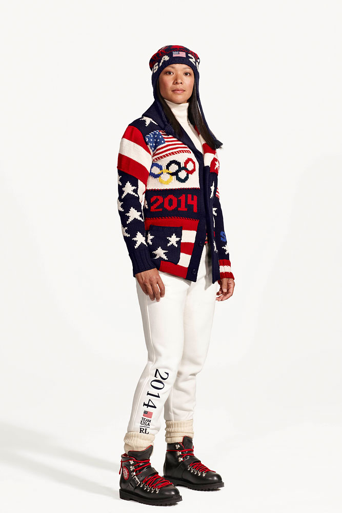 Julie Chu, ice hockey player on the United States women's ice hockey team is shown wearing the Official Opening Ceremony Parade Uniforms for the 2014 Winter Olympic Games in this photo released on Jan. 23, 2014.