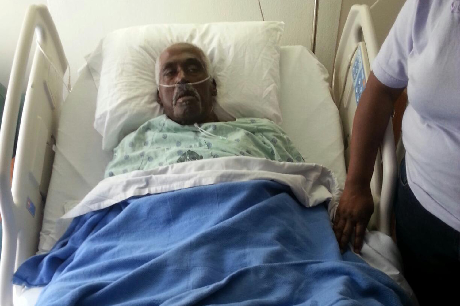 Walter Williams in the hospital in early March.