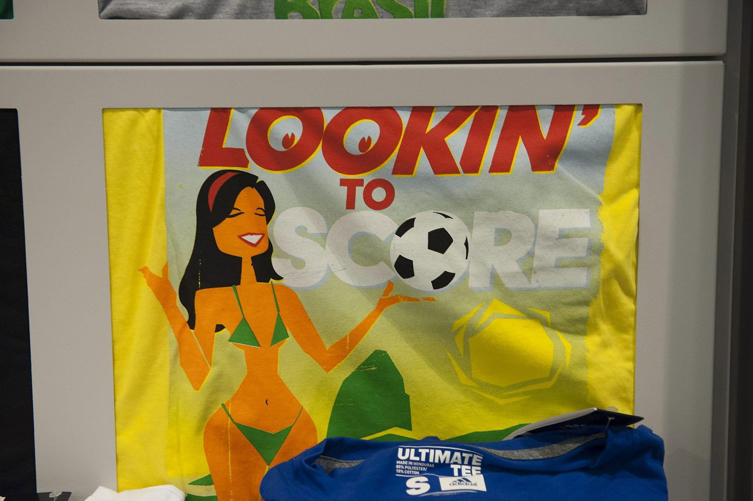 Detail of Adidas' Brazil 2014 World Cup t-shirts seen in a shop in San Francisco, Feb. 25, 2014.