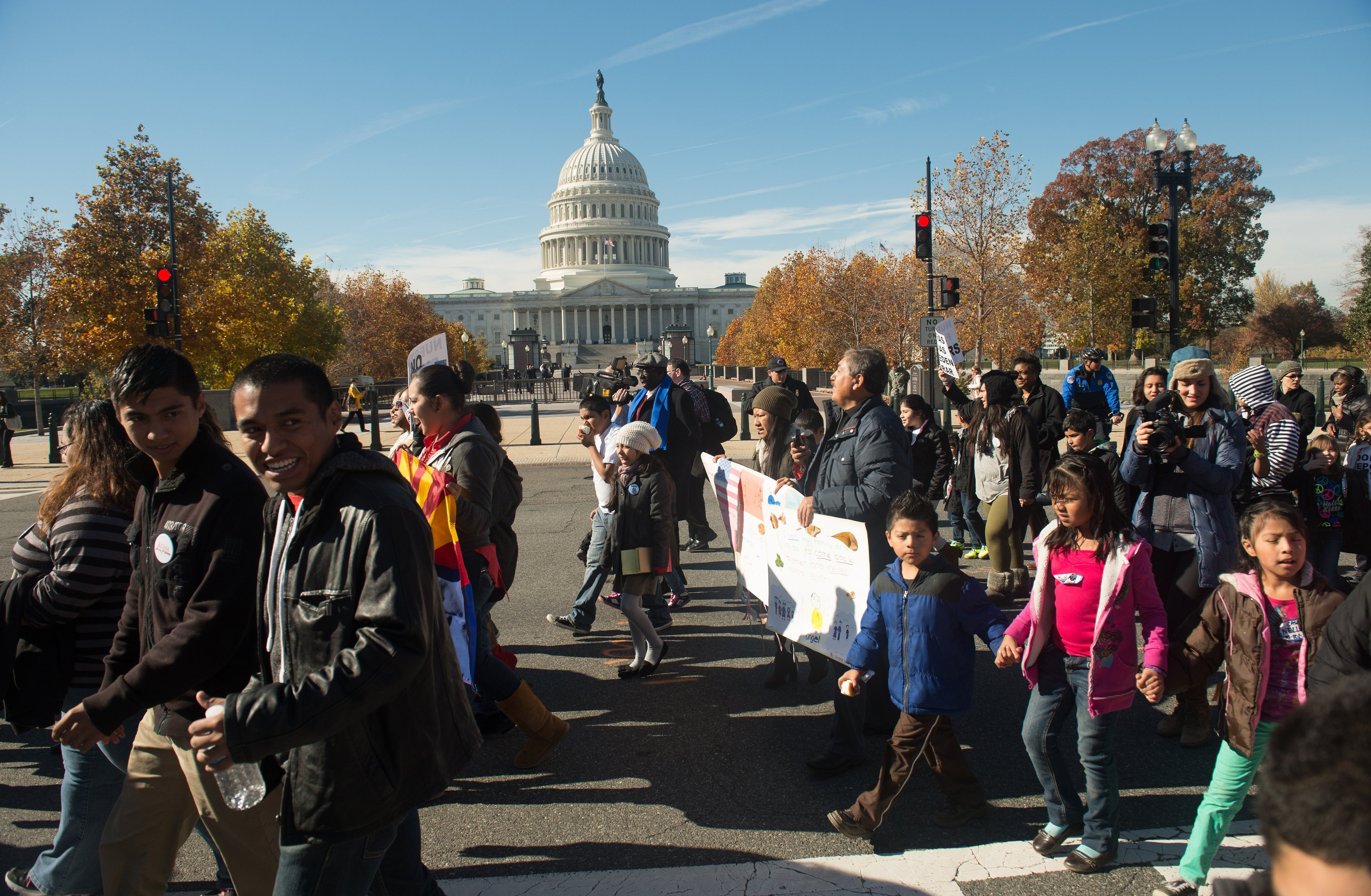 Marchers with the Fair Immigration Reform Movement and its Keeping Families Together: Youth in Action campaign march past the U.S. Capitol in Washington, D.C., on, Nov. 14, 2013.
