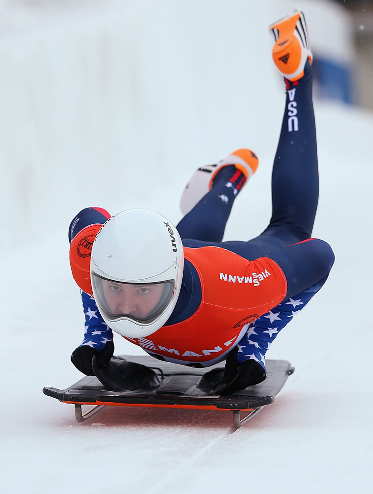 Kyle Tress of USA competes during heat one of the Men's Skeleton at the Viessmann FIBT Bob & Skeleton World Cup at the Olympia Bob Run on Jan. 10, 2014 in St Moritz, Switzerland.