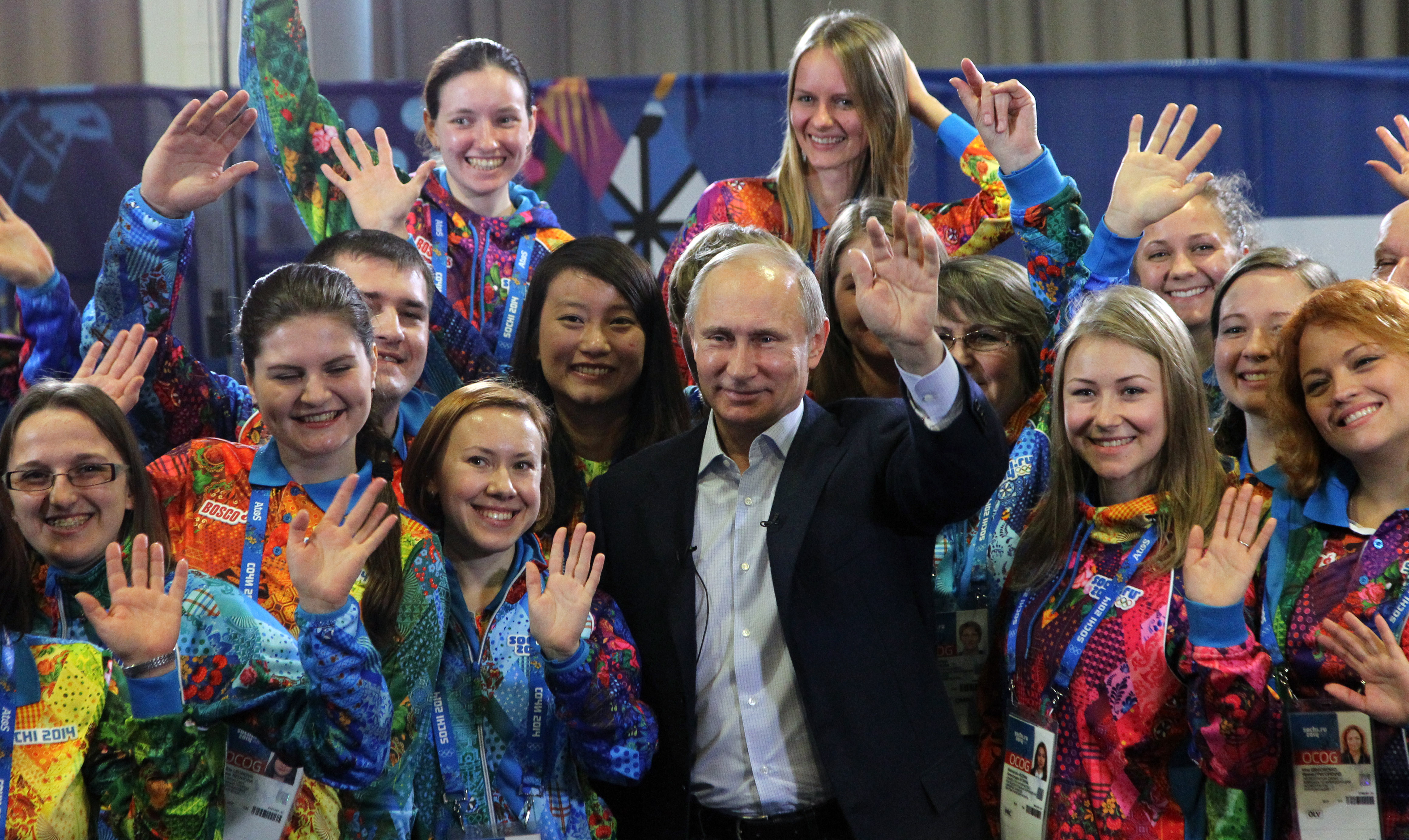 Russian President Vladimir Putin attends a meeting with Sochi Winter Olympics 2014 volunteers in Sochi, Russia, January,17,2014.