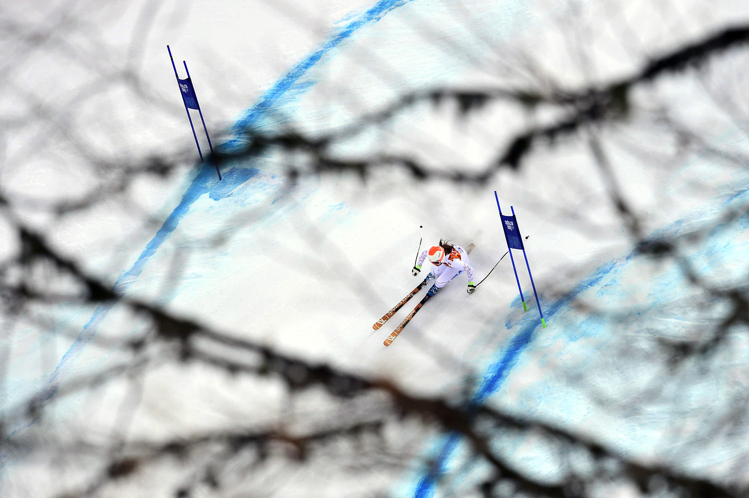 U.S. skier Leanne Smith competes during the Women's Alpine Skiing Super Combined Downhill at the Rosa Khutor Alpine Center.