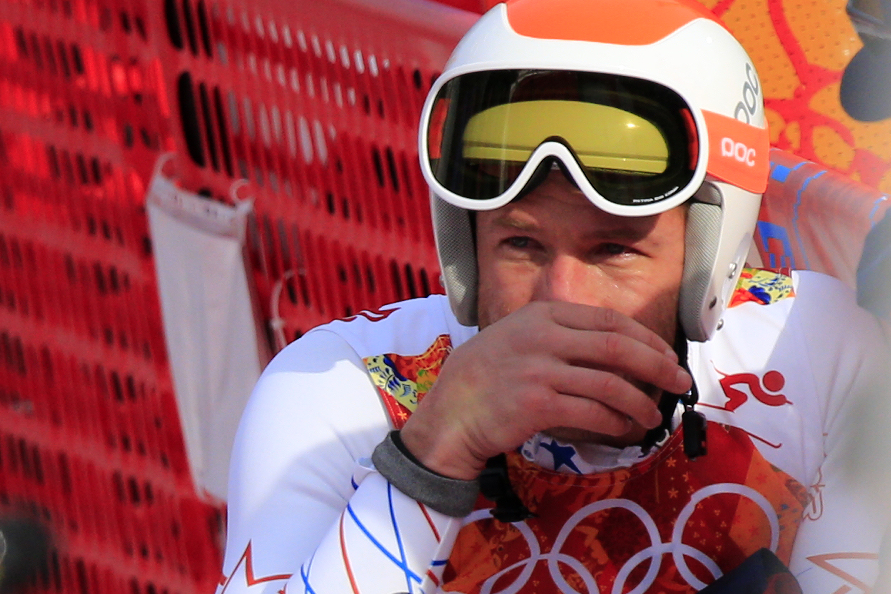 US skier Bode Miller cries after the Men's Alpine Skiing Super-G at the Rosa Khutor Alpine Center during the Sochi Winter Olympics on February 16, 2014.