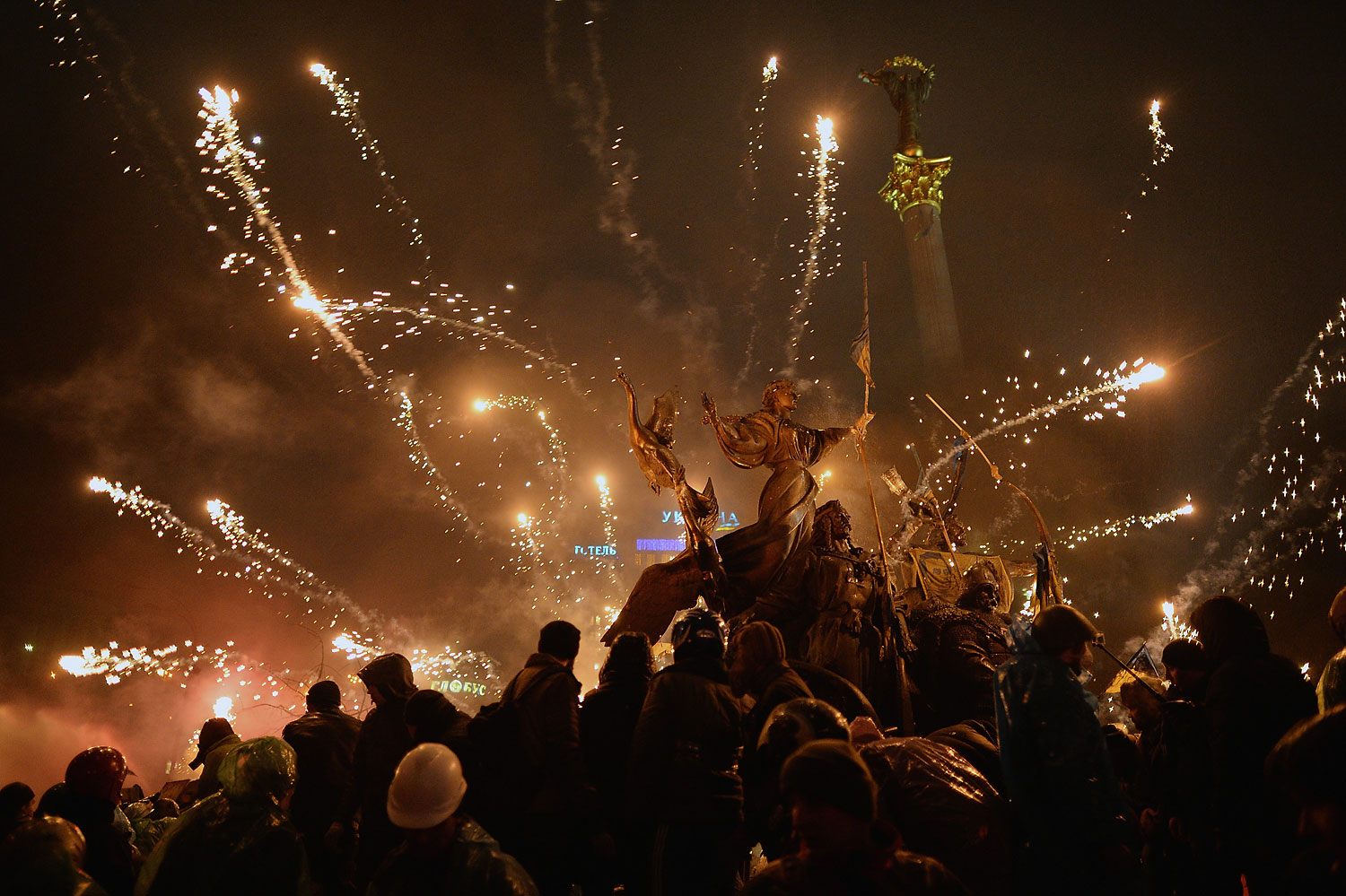 Anti-government protesters let off fireworks during demonstrations in Independence Square on Feb. 19, 2014 in Kiev, Ukraine.