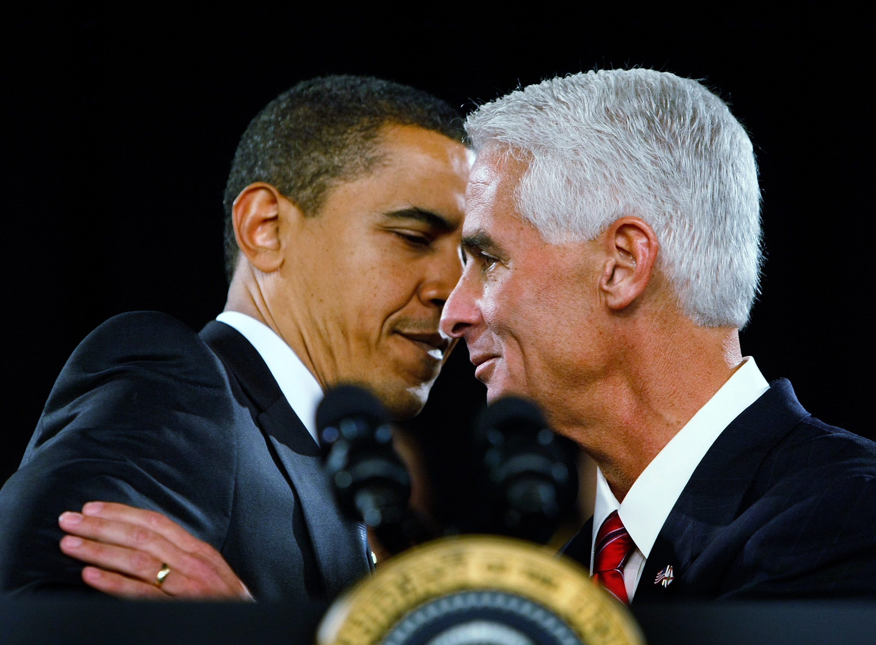 Republican Florida Governor Charlie Crist is hugged by President Barack Obama as the Governor introduces him during a Town Hall Meeting at the Harborside Event Center February 10, 2009 in Fort Myers, Fla.