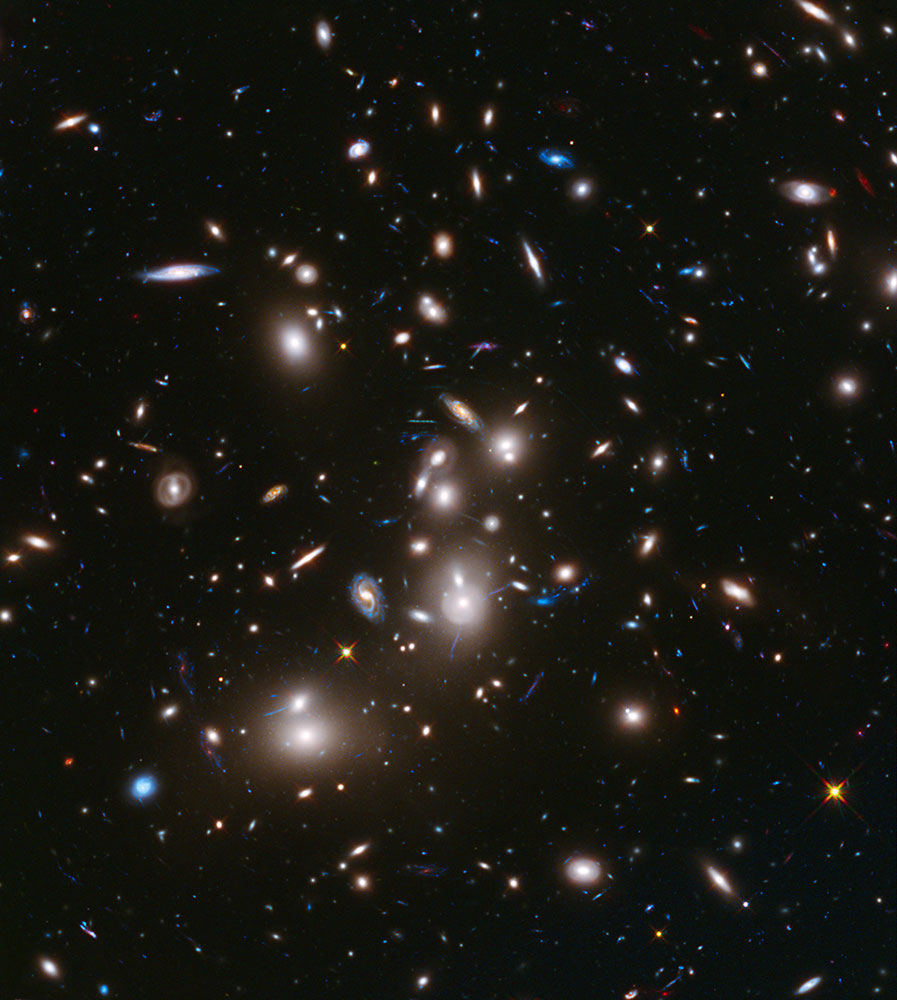 This long-exposure Hubble Space Telescope image of massive galaxy cluster Abell 2744 is the deepest ever made of any cluster of galaxies. It shows some of the faintest and youngest galaxies ever detected in space.